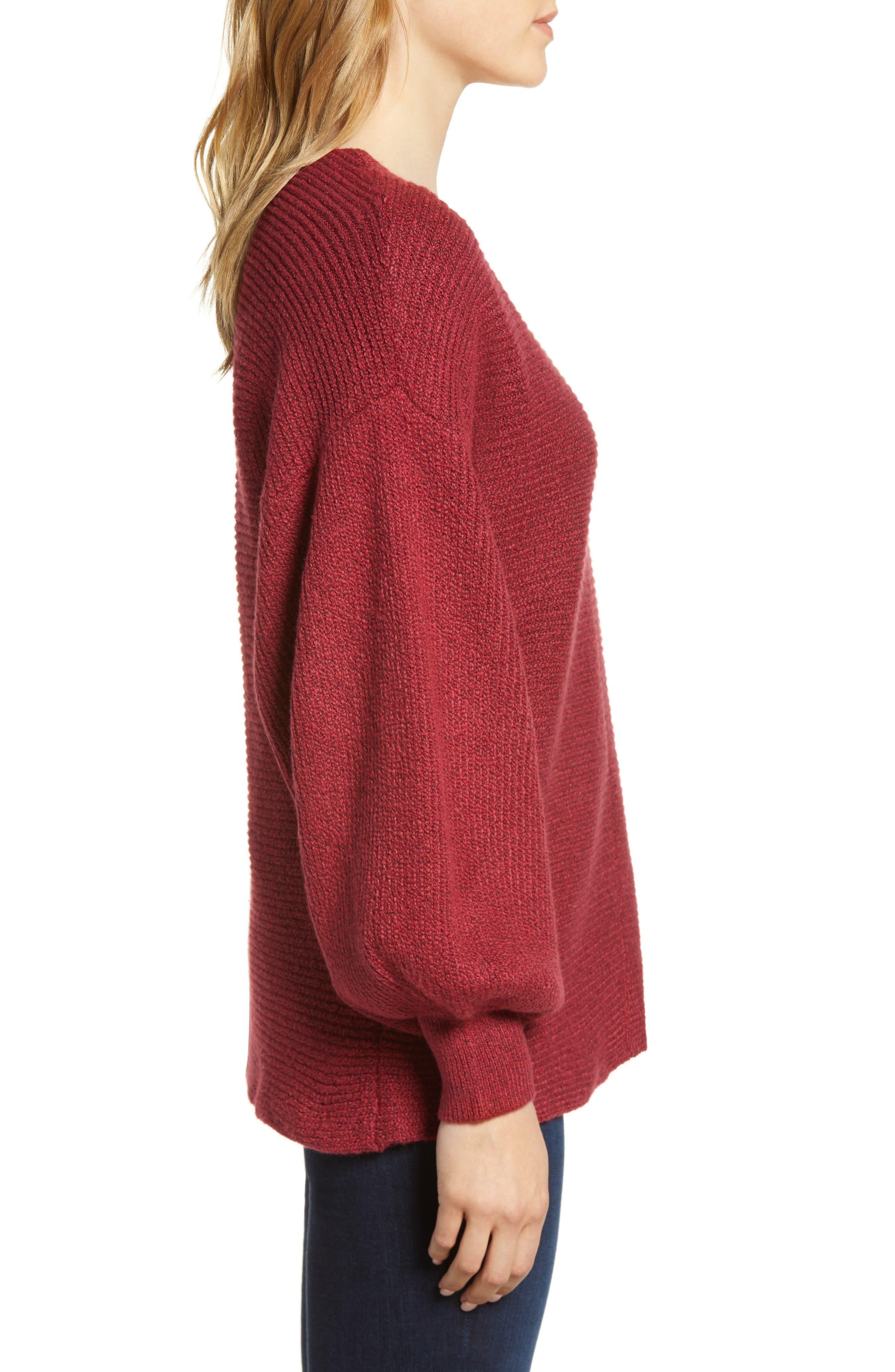 Blouson Sleeve V-Neck Sweater,                             Alternate thumbnail 3, color,                             641
