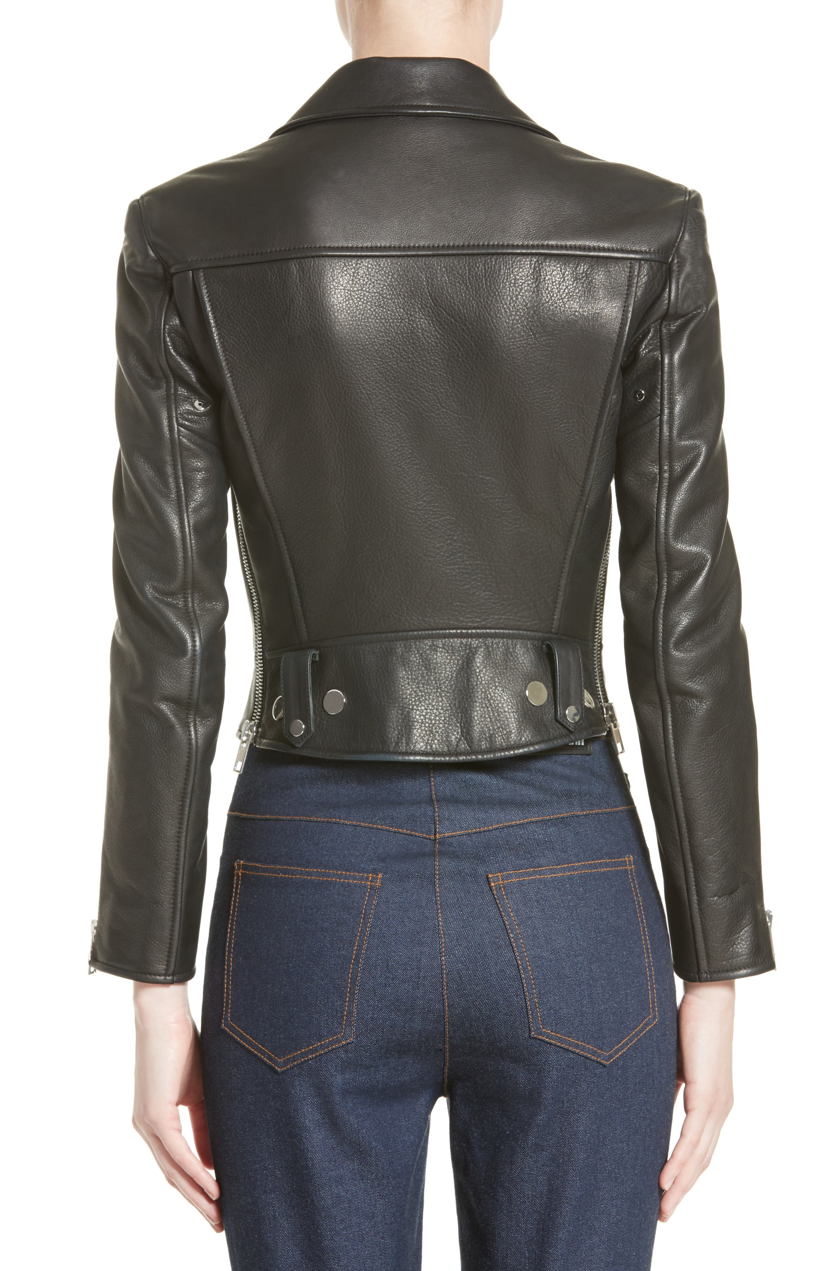Snap Leather Moto Jacket,                             Alternate thumbnail 2, color,                             001