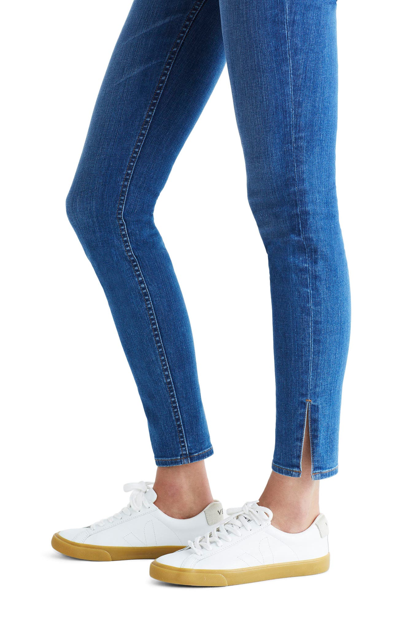 MADEWELL,                             9-Inch High-Rise Skinny Jeans: Side-Slit Edition,                             Alternate thumbnail 4, color,                             400