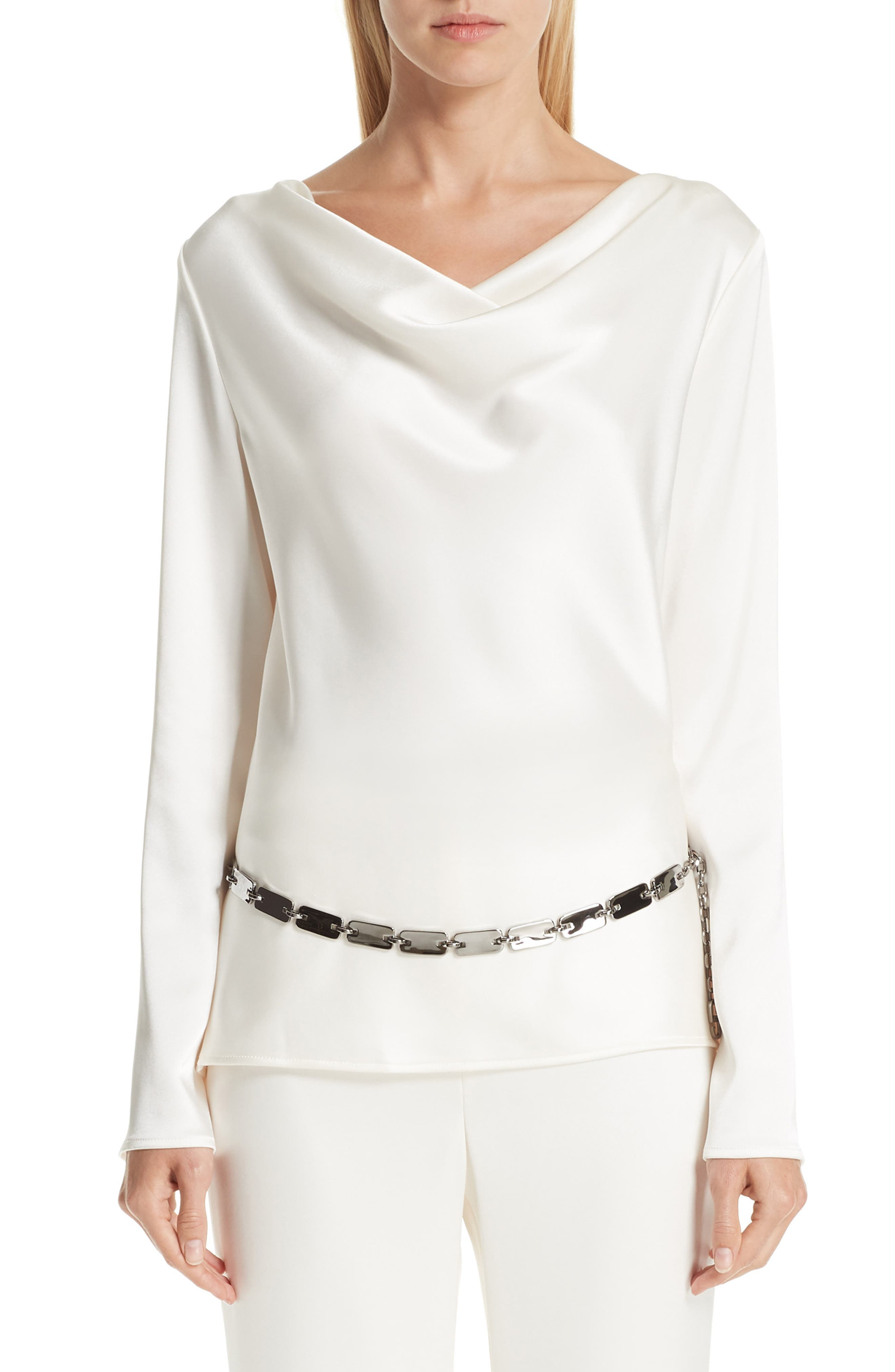 ST. JOHN COLLECTION,                             Satin Cowl Neck Blouse,                             Main thumbnail 1, color,                             CREAM