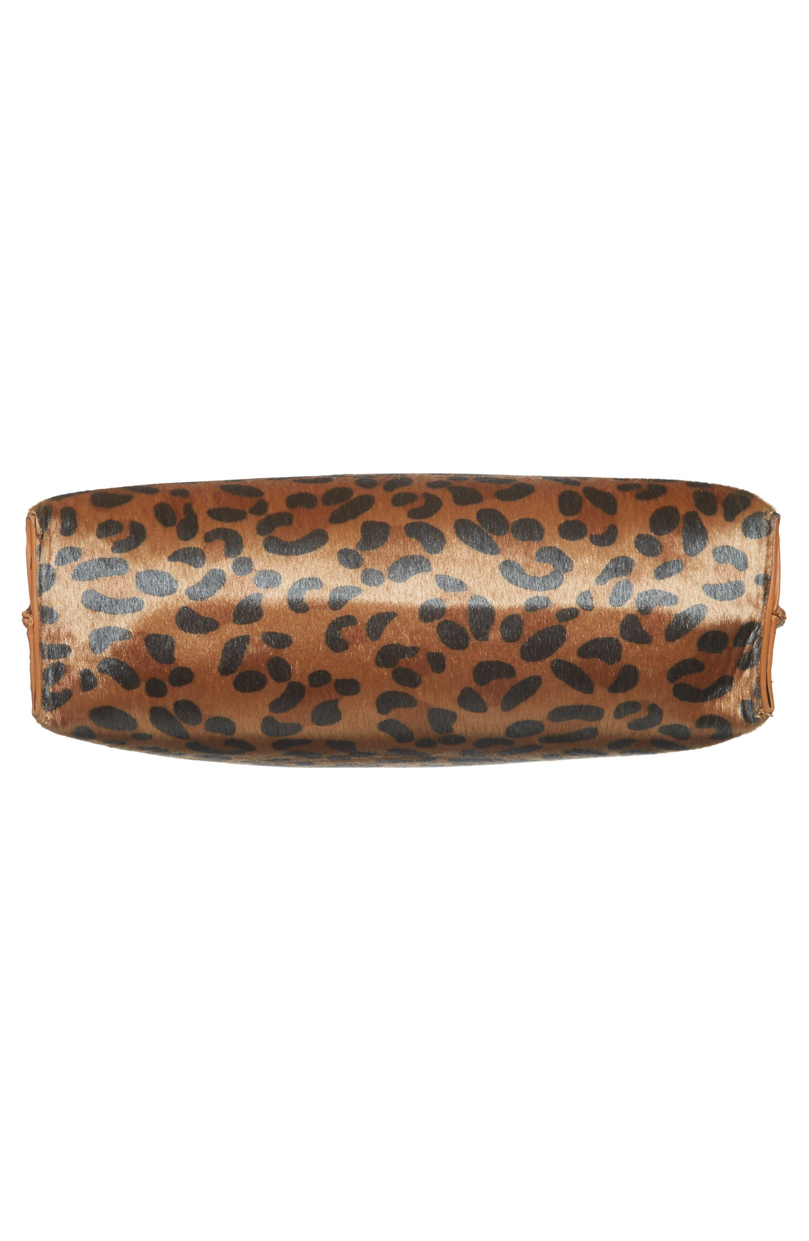 Leopard Print Faux Calf Hair Tote,                             Alternate thumbnail 6, color,                             201