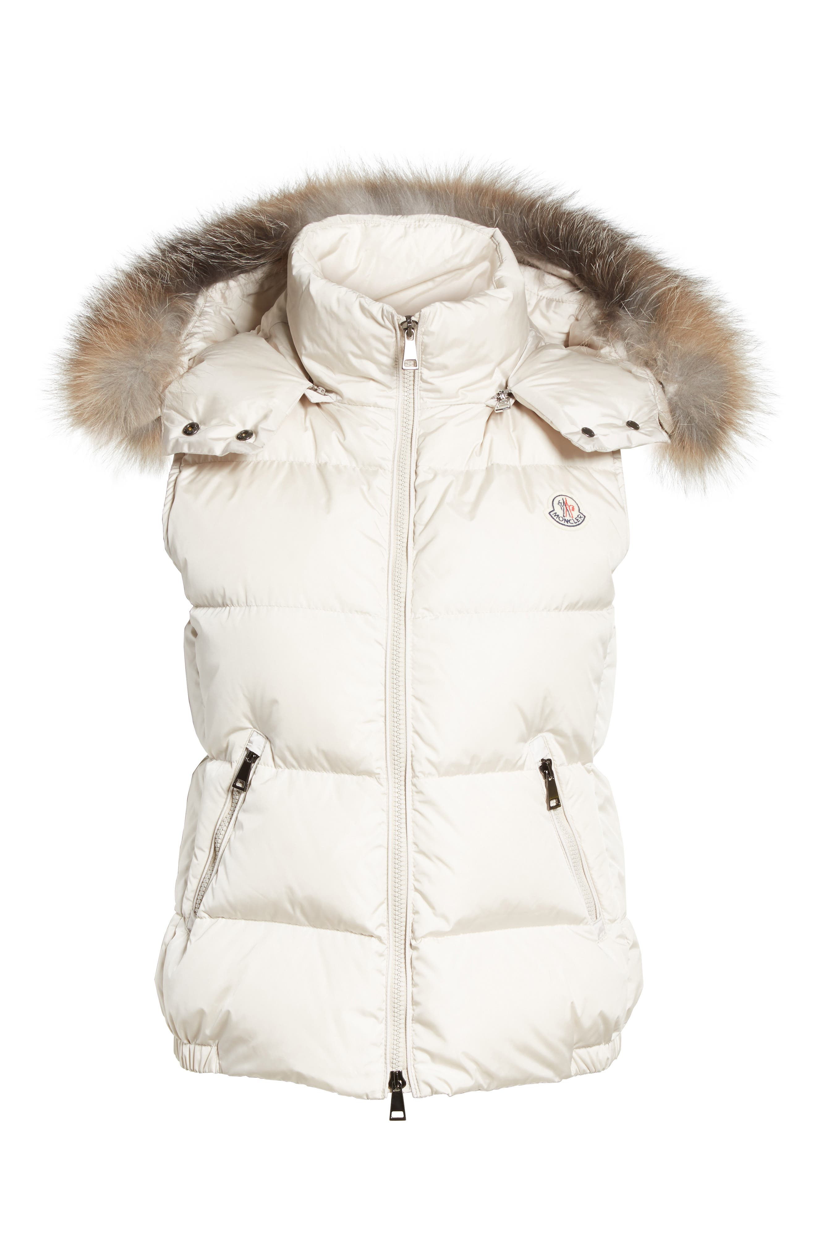 Gallinule Quilted Down Vest with Detachable Genuine Fox Fur Trim Hood,                             Alternate thumbnail 6, color,                             CHAMPAGNE