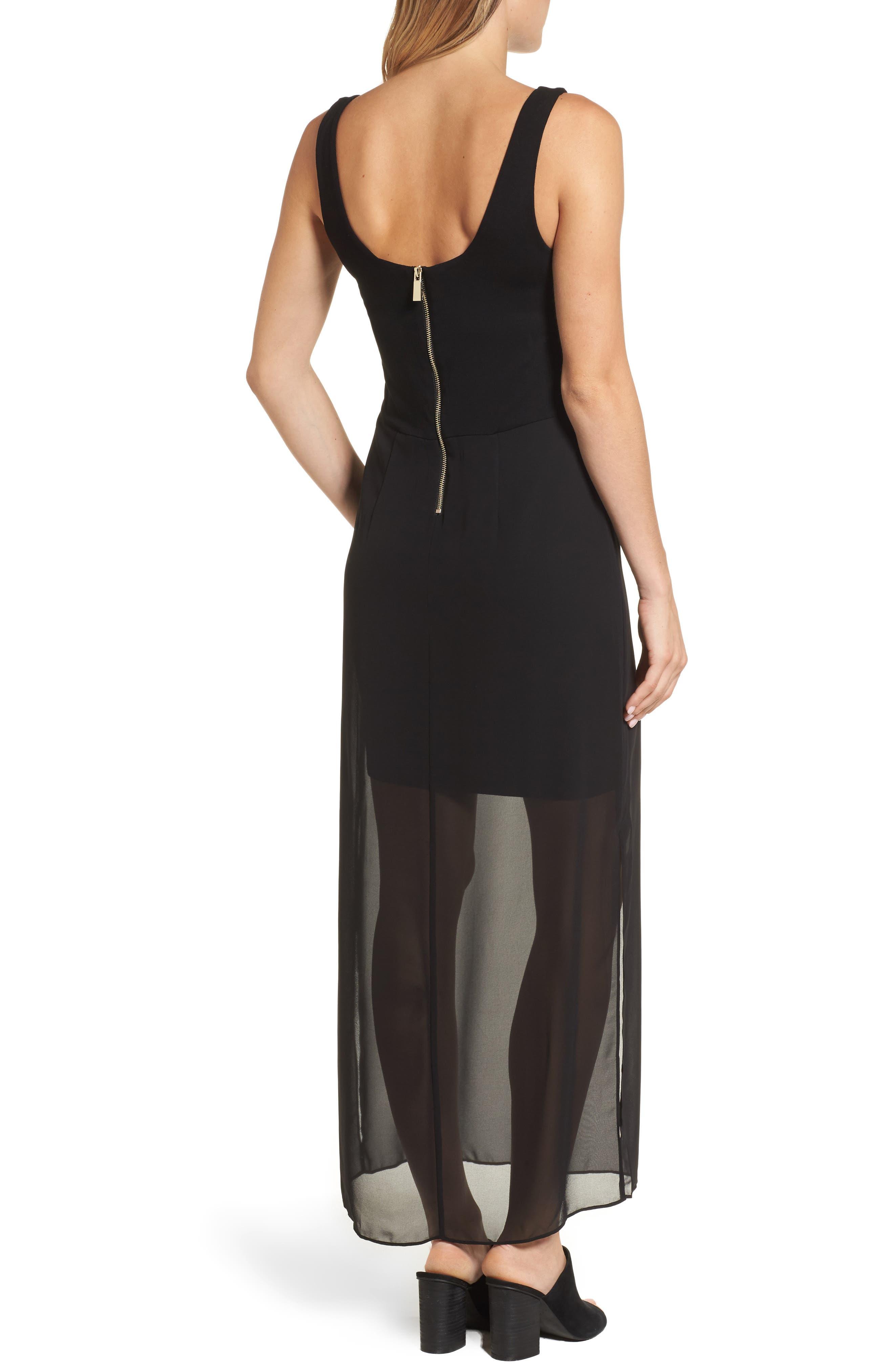Chiffon Overlay Tank Dress,                             Alternate thumbnail 2, color,                             001