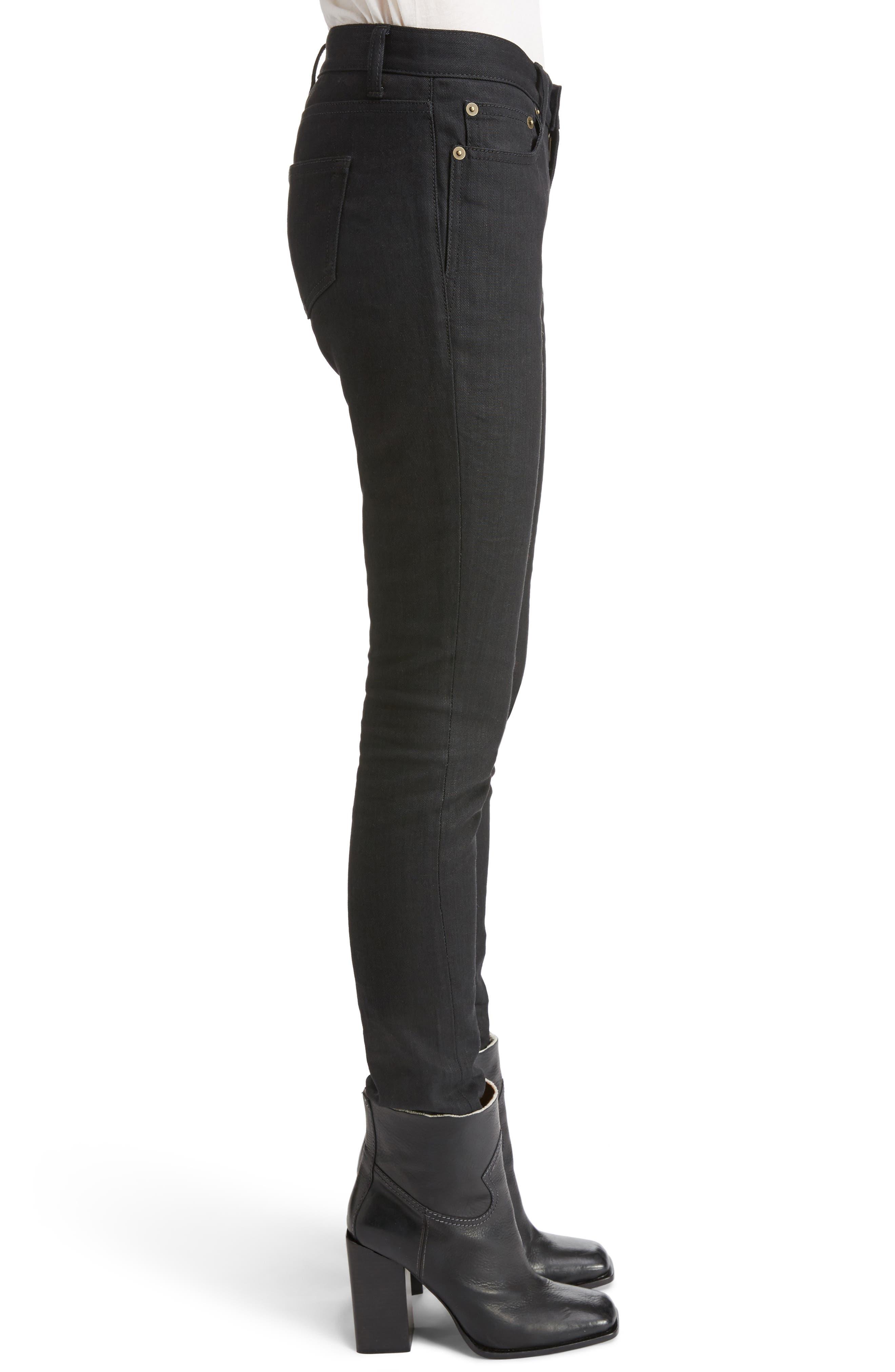 High Waist Skinny Jeans,                             Alternate thumbnail 3, color,                             001