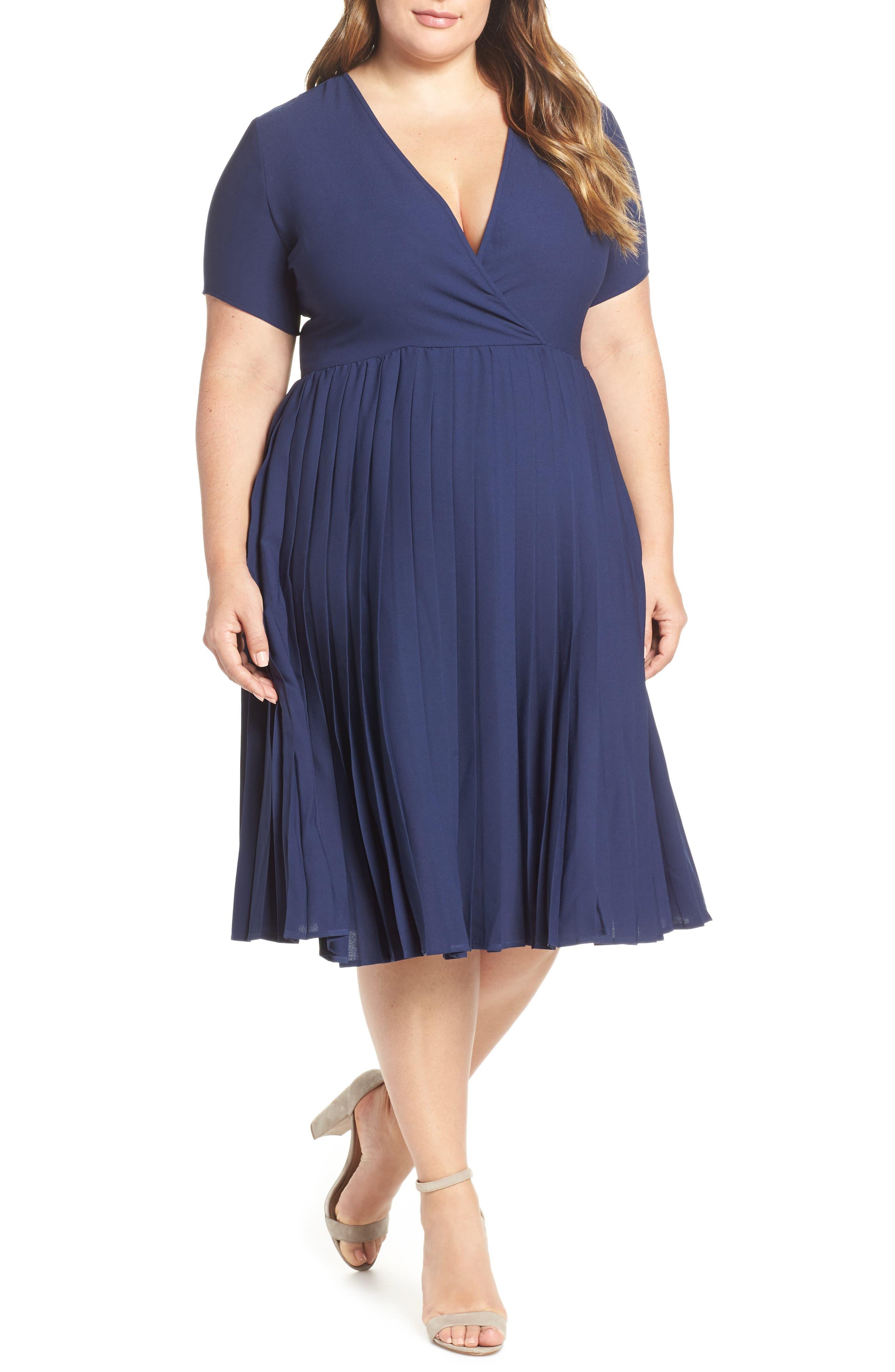 LEITH,                             Pleated Surplice Dress,                             Alternate thumbnail 2, color,                             NAVY PEACOAT