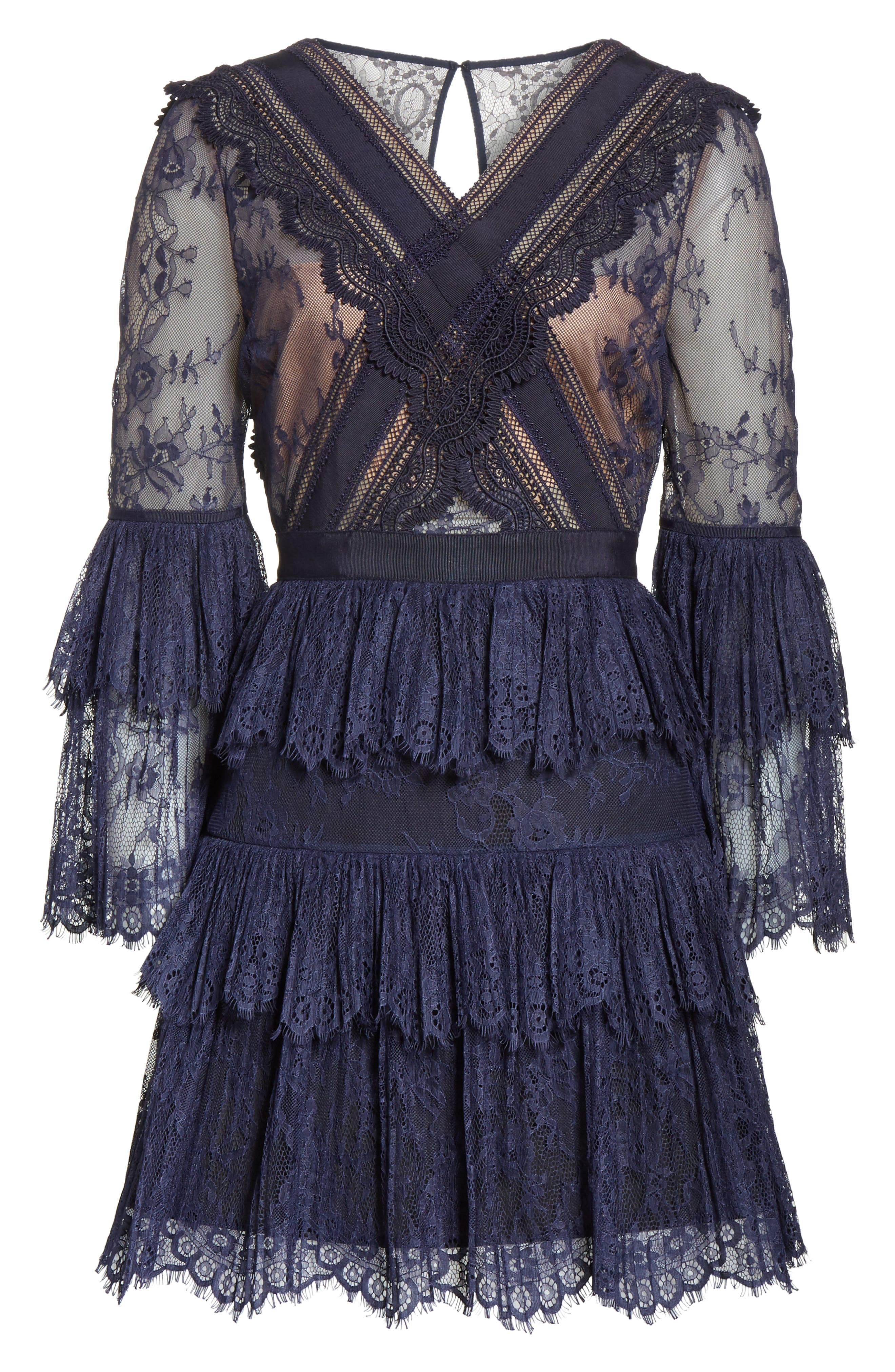Pleated Lace Dress,                             Alternate thumbnail 6, color,                             400