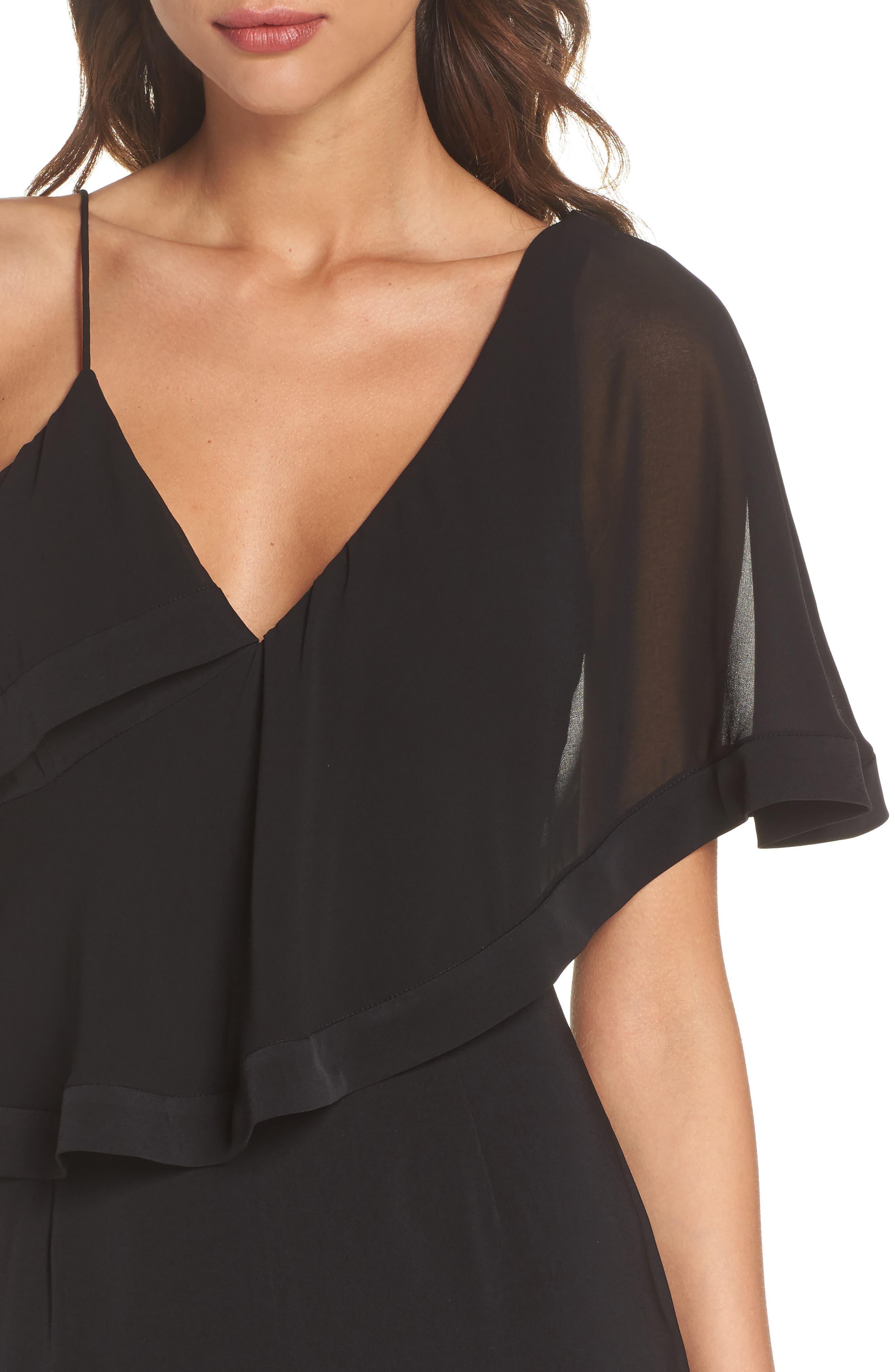 No Love One-Shoulder Crop Jumpsuit,                             Alternate thumbnail 4, color,                             BLACK