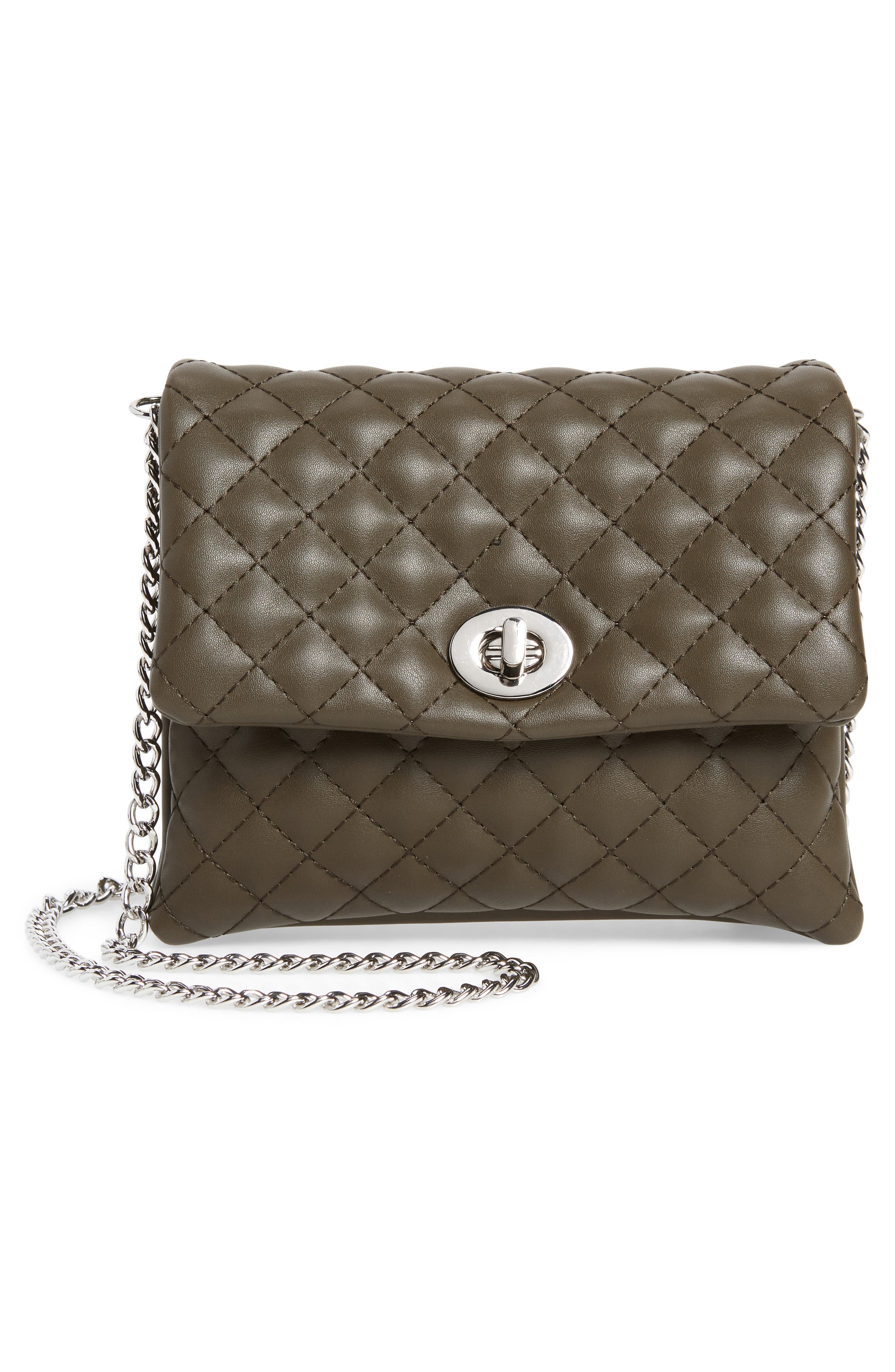 Mali + Lili Quilted Vegan Leather Convertible Belt Bag,                             Alternate thumbnail 4, color,                             OLIVE