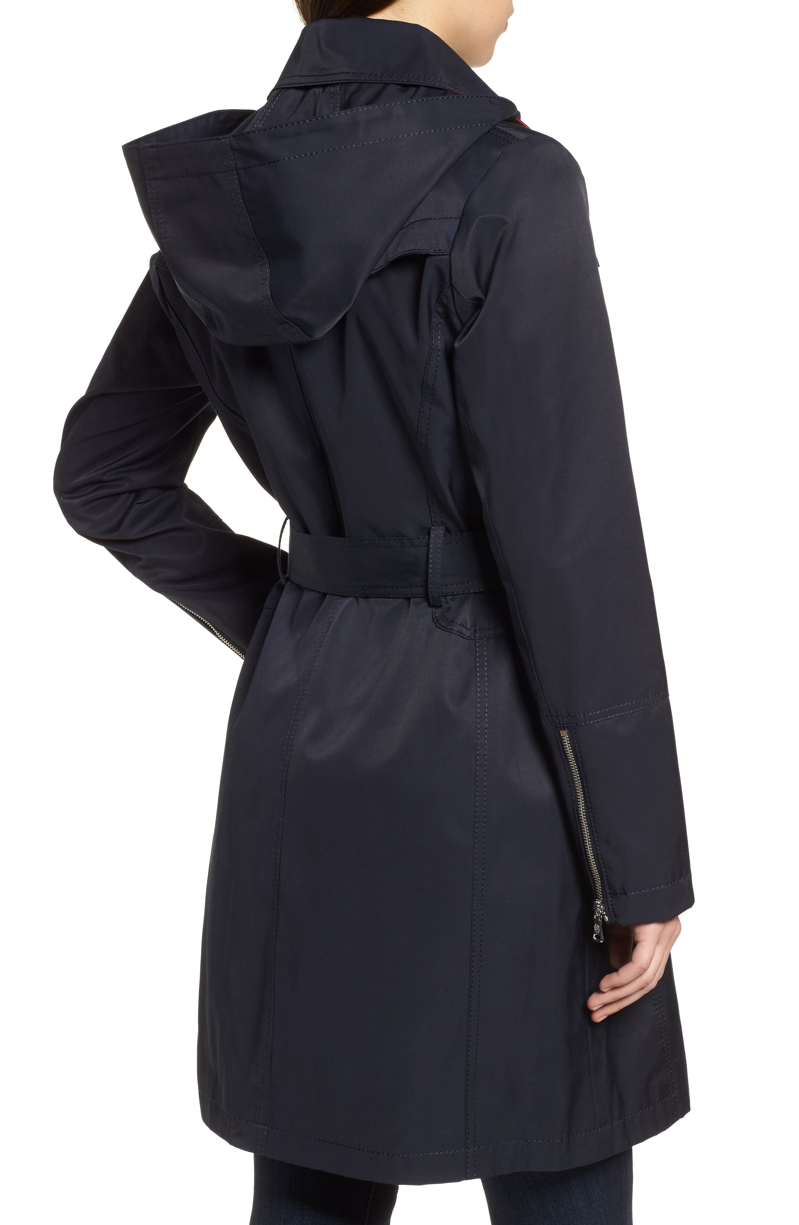 Belted Asymmetrical Trench Coat,                             Alternate thumbnail 6, color,