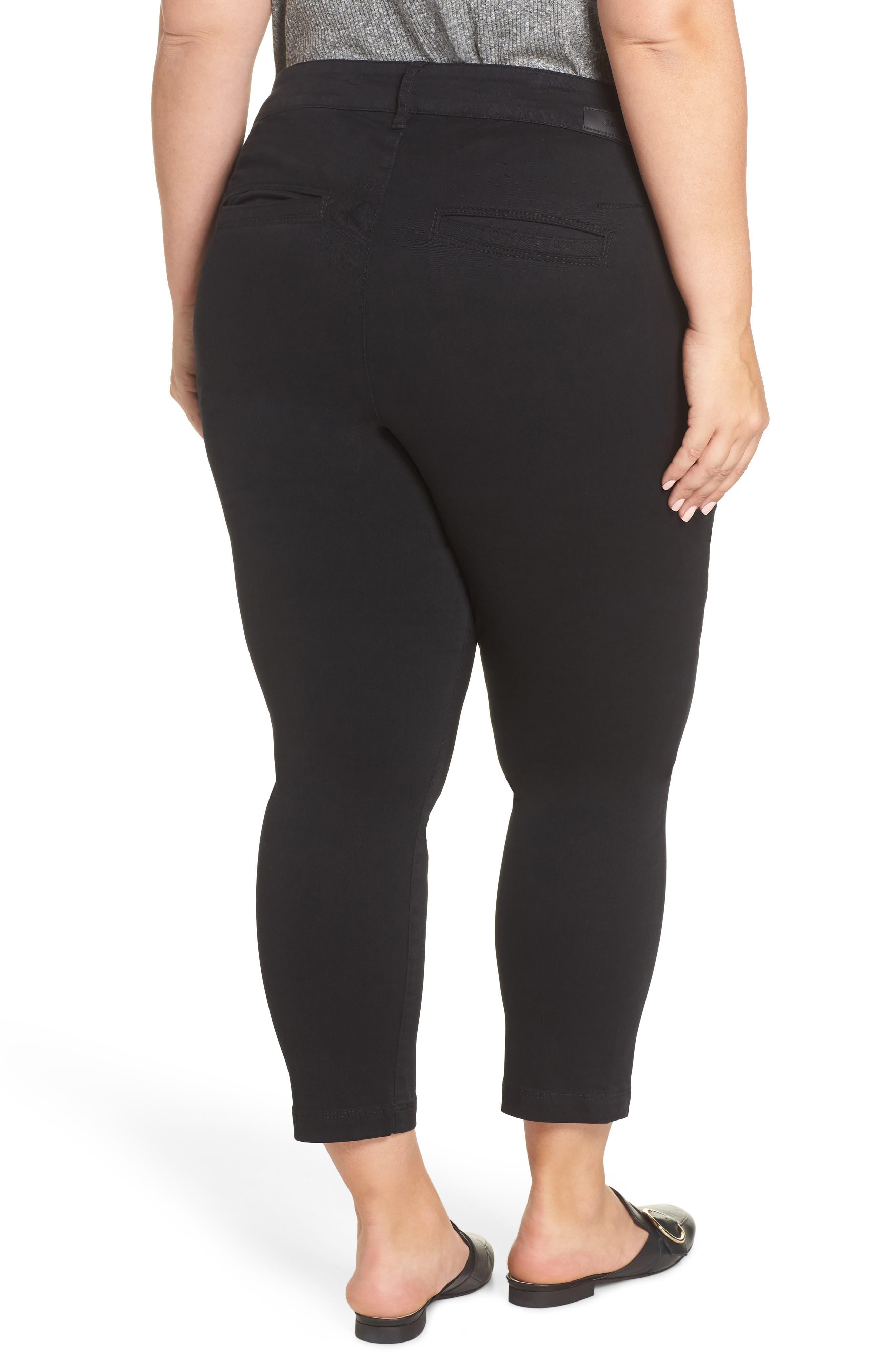 Flora Stretch Cotton Crop Pants,                             Alternate thumbnail 2, color,                             BLACK