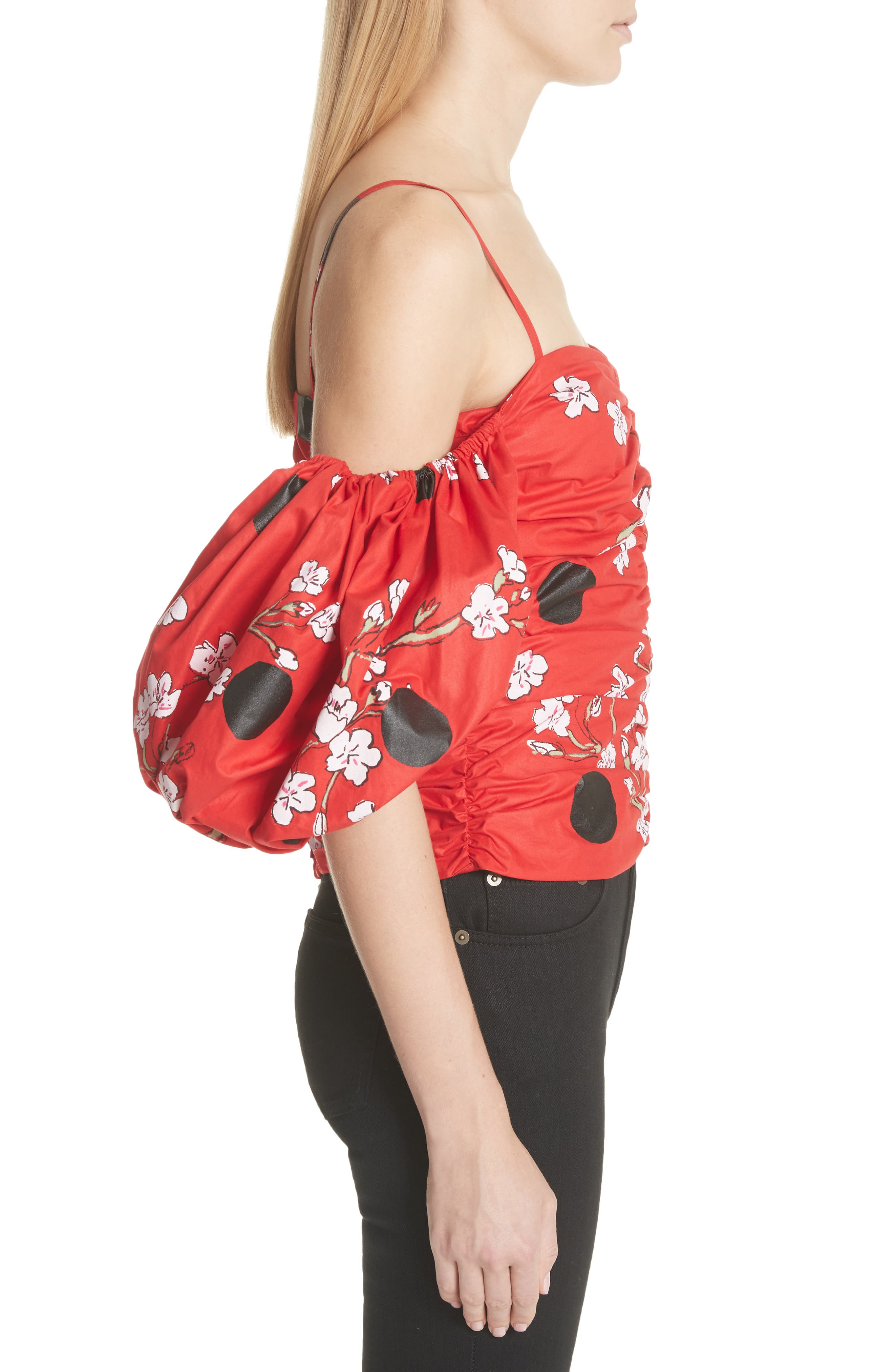 Ruched Bubble Sleeve Top,                             Alternate thumbnail 3, color,                             600