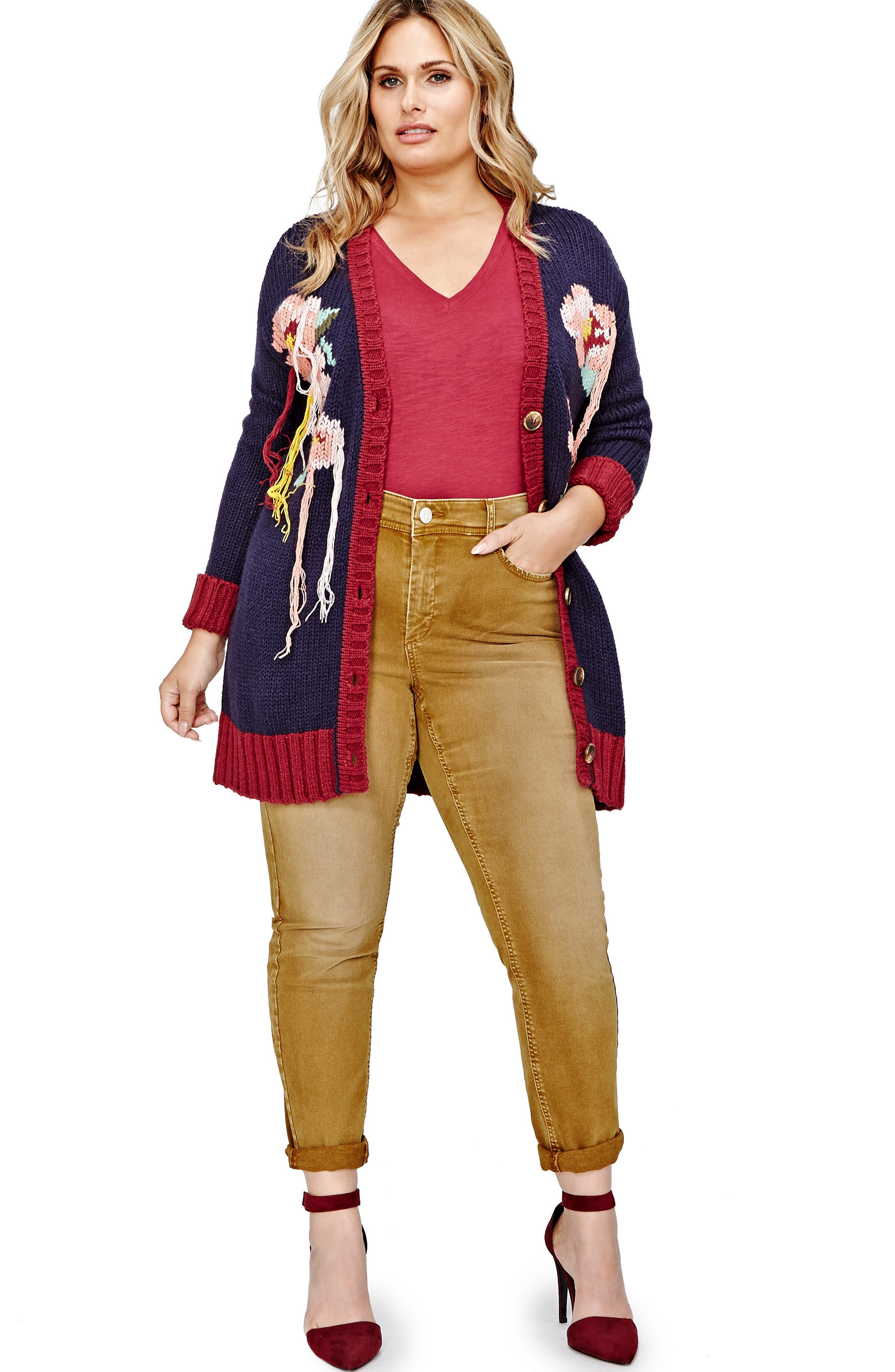 Hand Embroidered Cardigan,                             Alternate thumbnail 3, color,                             402