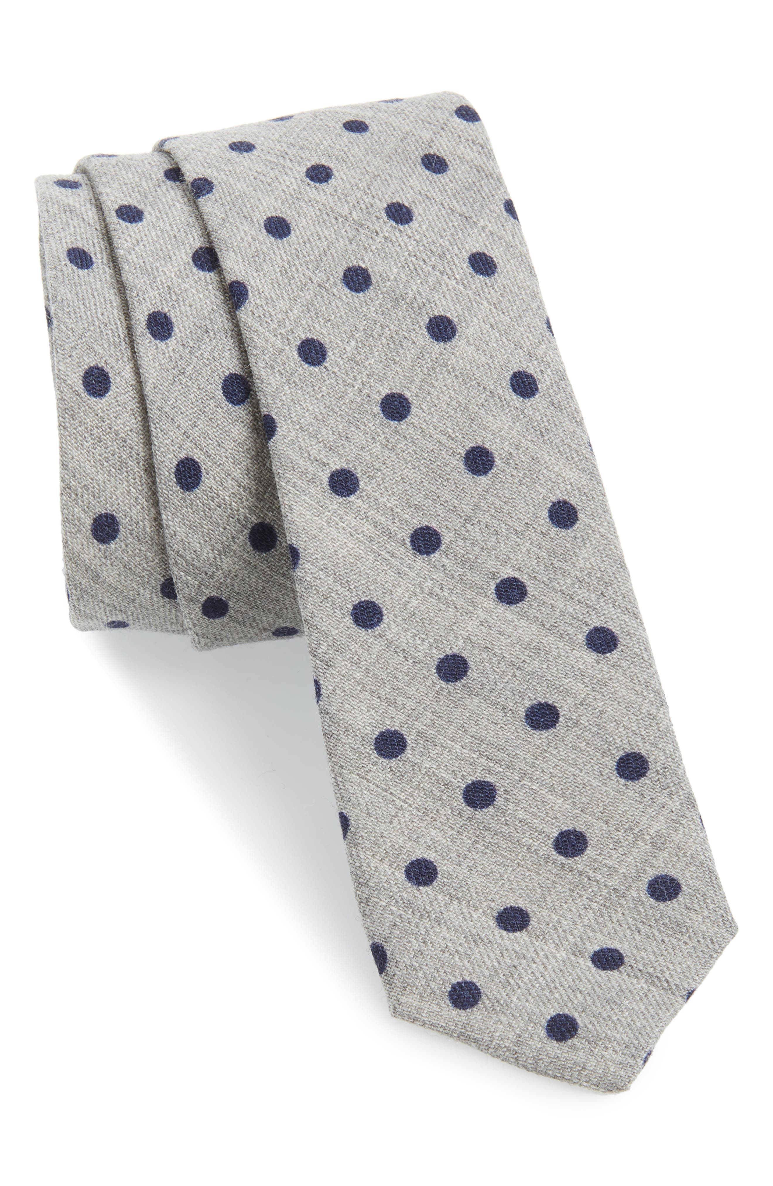 Dot Wool Skinny Tie,                             Main thumbnail 1, color,                             LIGHT GREY