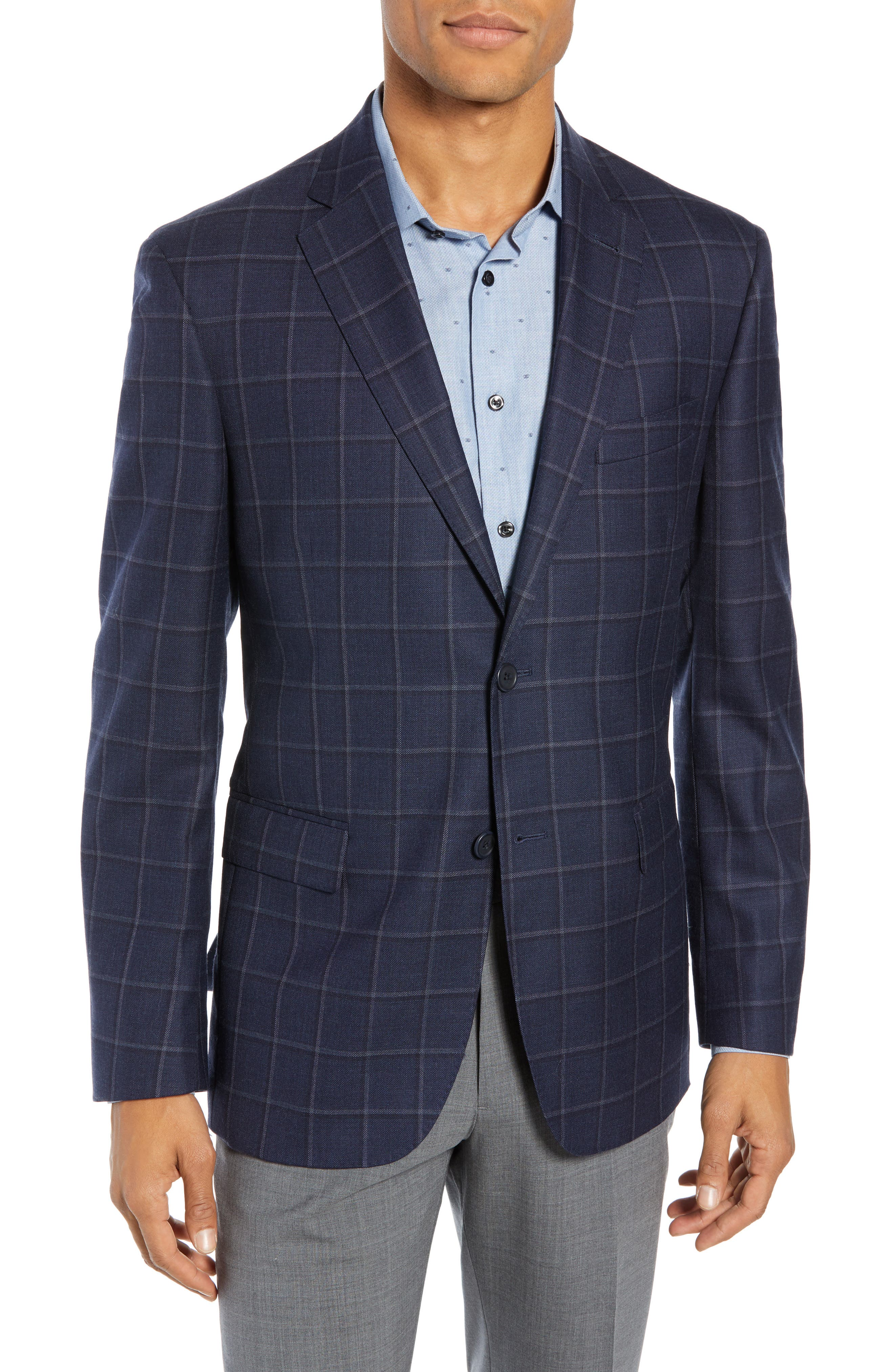 Men's John W. Nordstrom Traditional Fit Windowpane Wool Sport Coat, Size 38 S - Blue