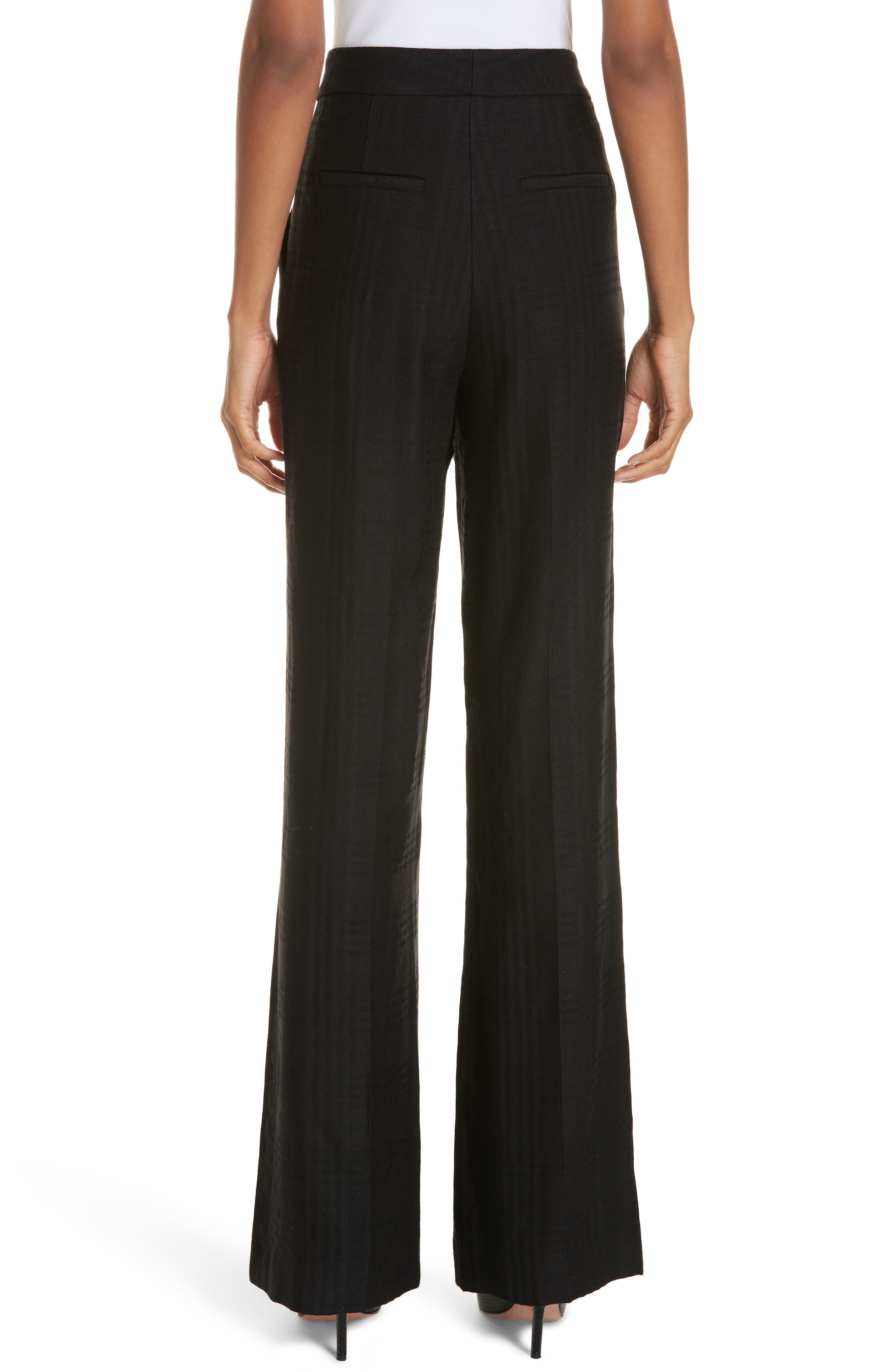 Tuli Check Button Detail Pants,                             Alternate thumbnail 2, color,                             BLACK/ BLACK