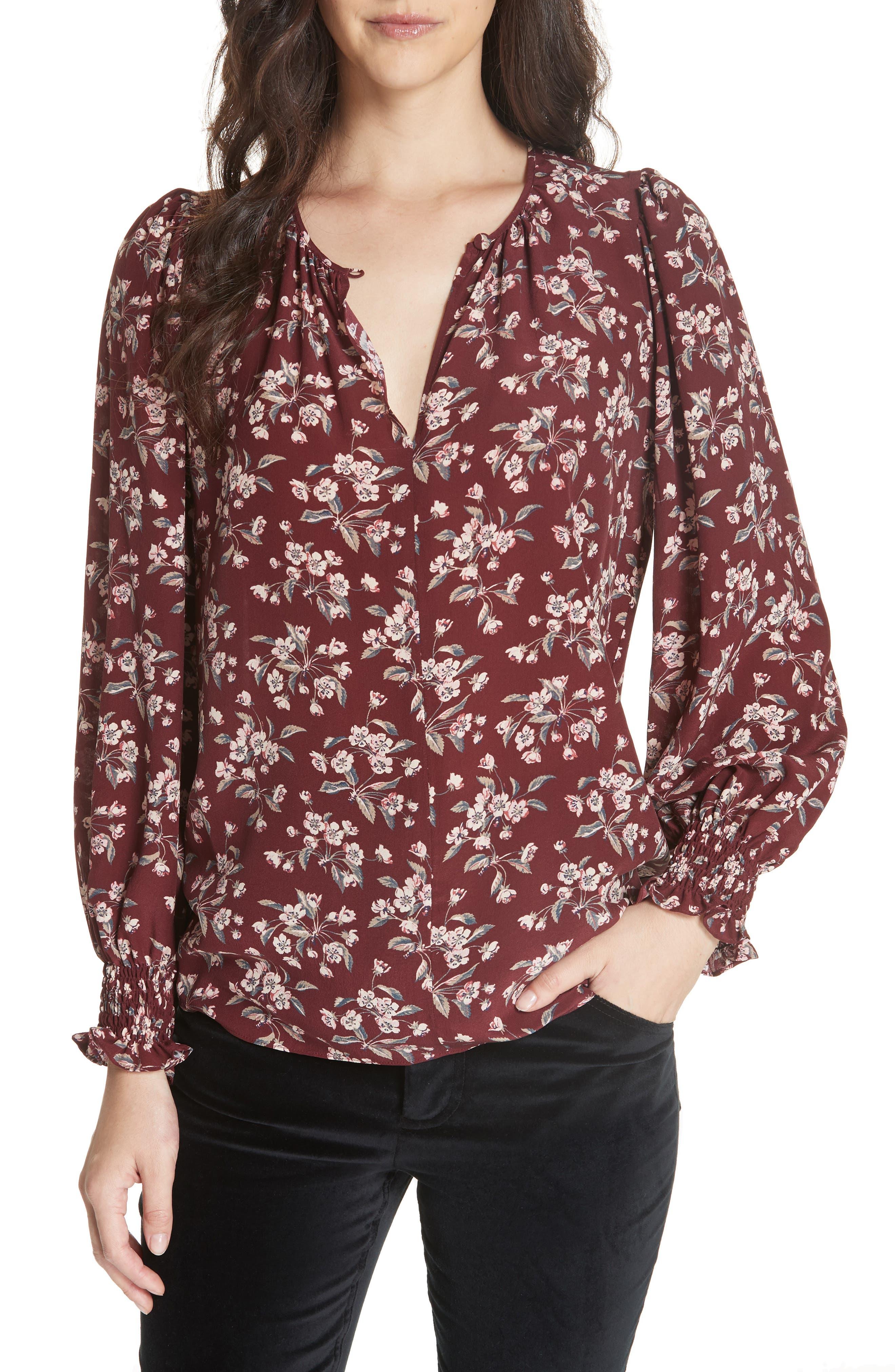Tilda Silk Floral Top,                         Main,                         color, BURGUNDY COMBO