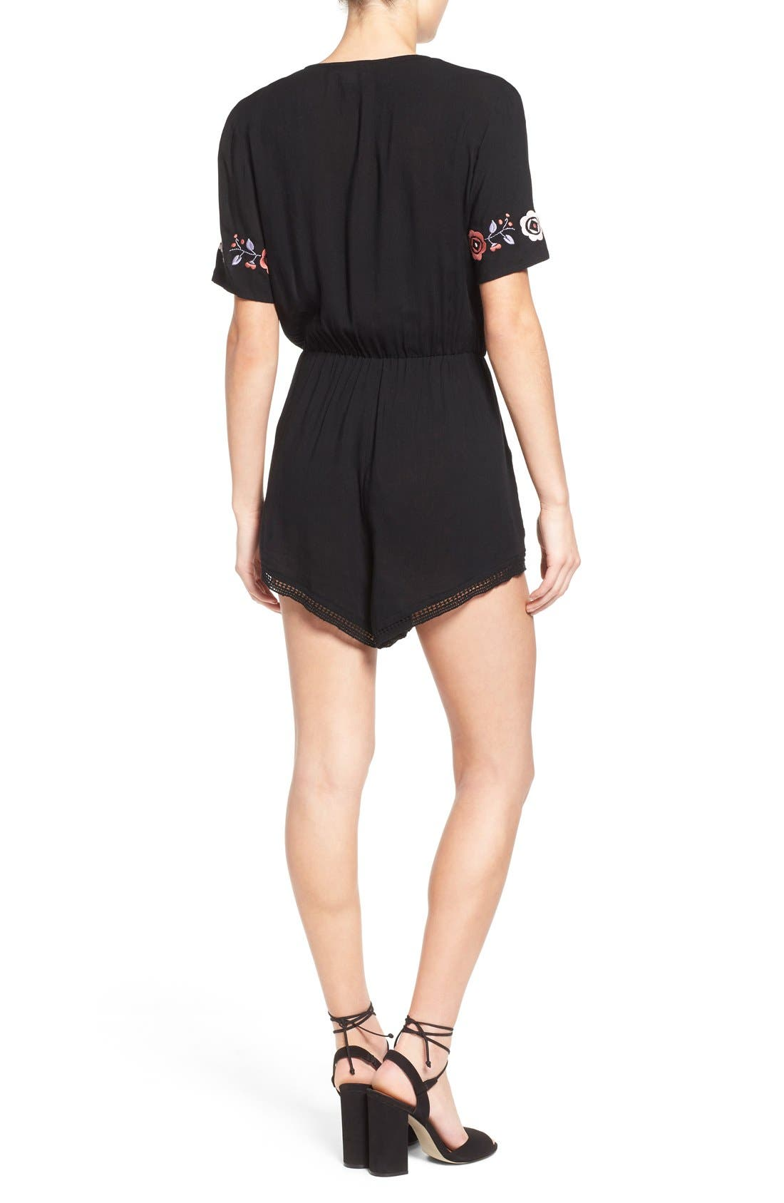 'Wide Eyes' Embroidered Romper,                             Alternate thumbnail 3, color,                             001