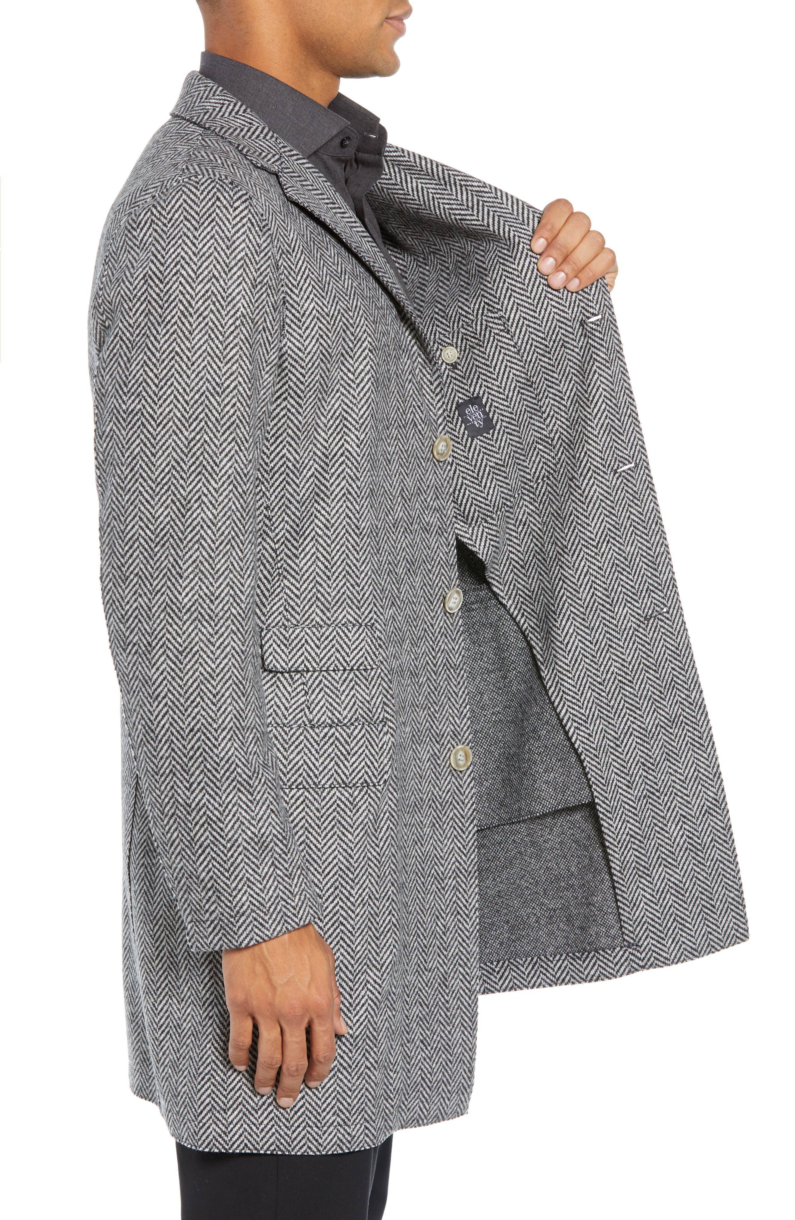 Trim Fit Wool Blend Top Coat,                             Alternate thumbnail 3, color,                             GREY