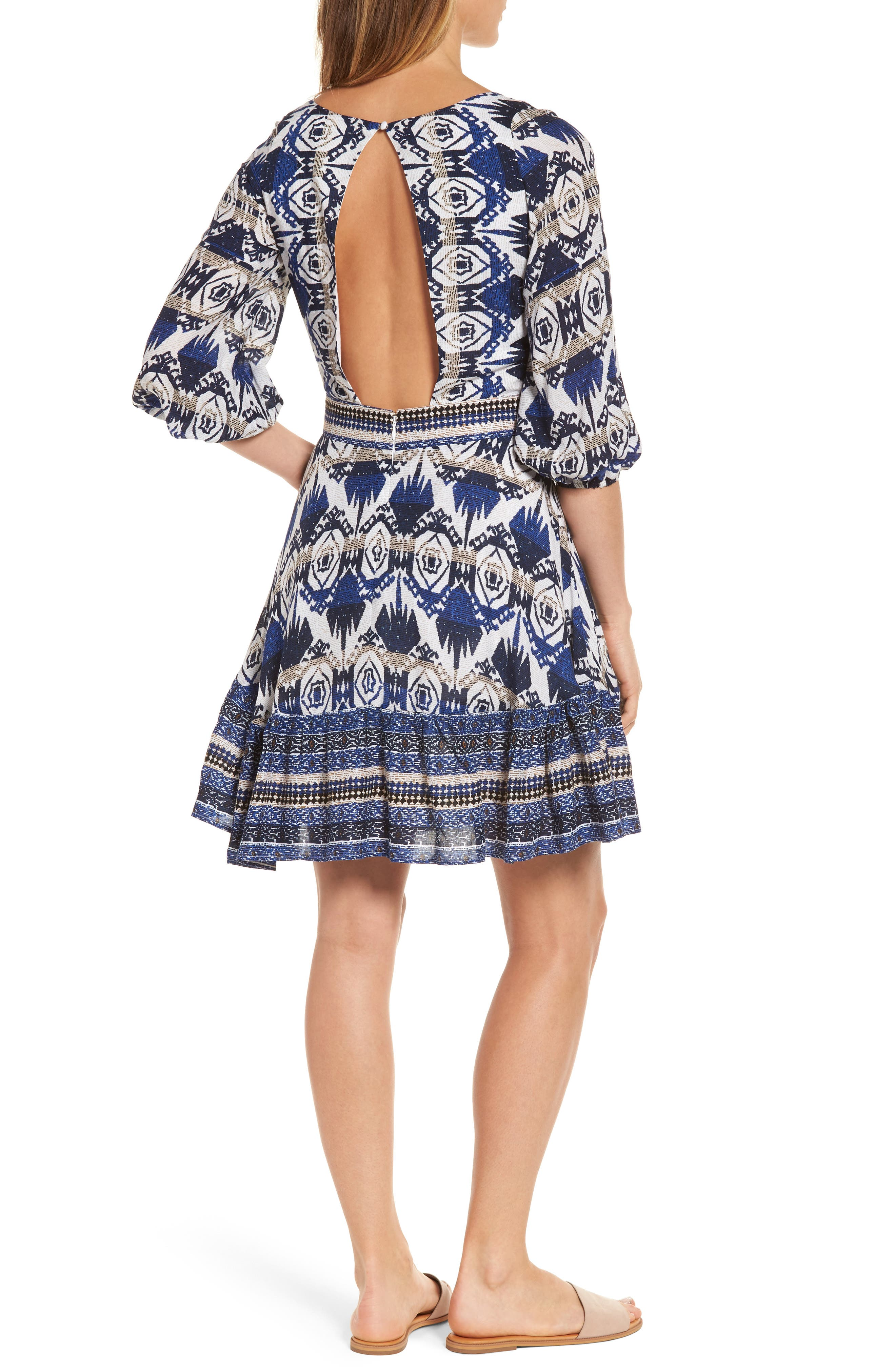 Camille Mixed Print Fit & Flare Dress,                             Alternate thumbnail 2, color,                             400