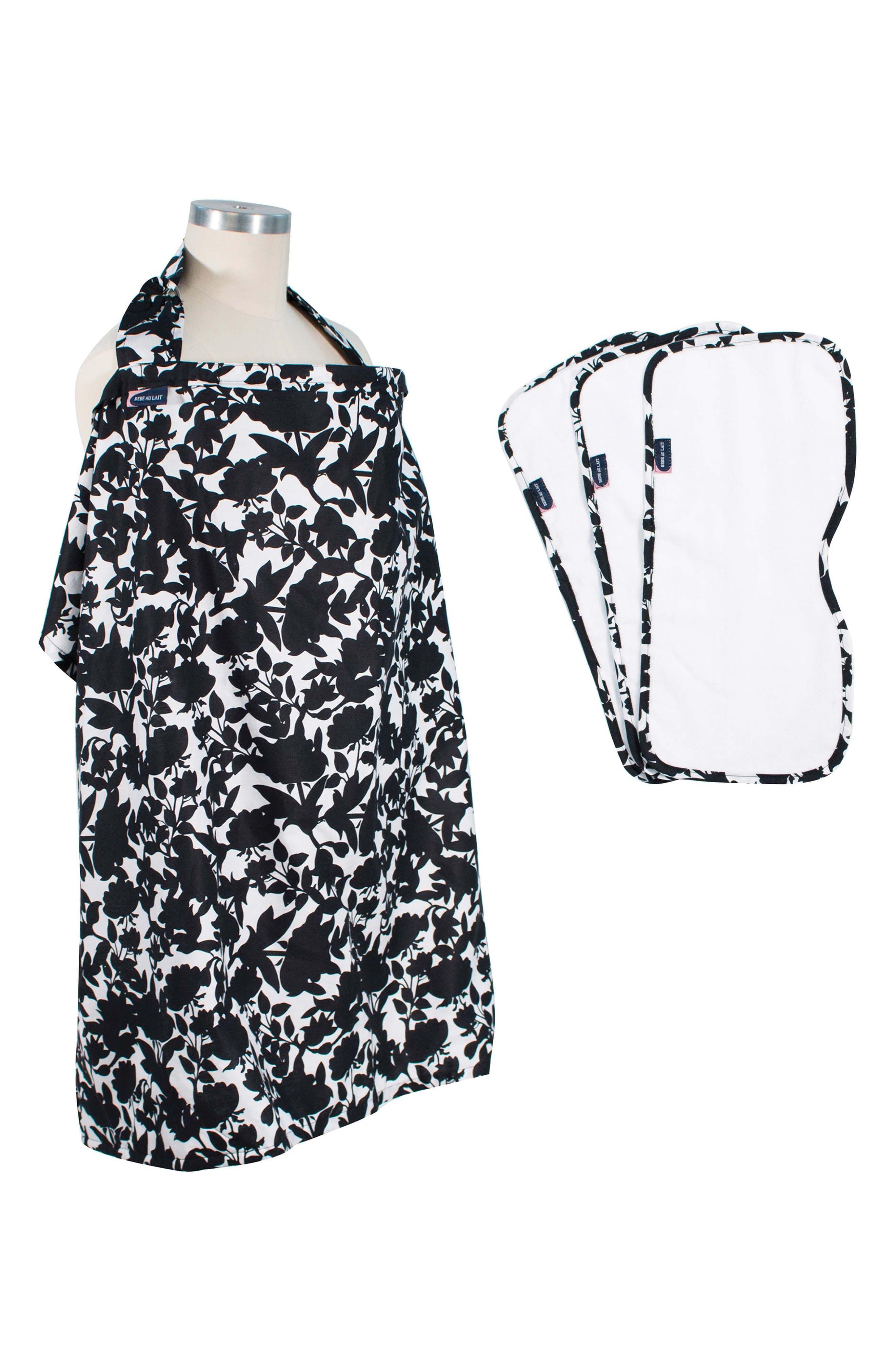 Gingko Print Cover & 3-Pack Burp Cloths,                         Main,                         color, SAKURA