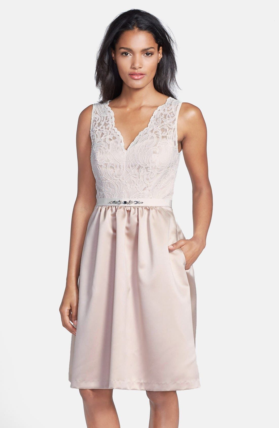 Embellished Lace with Satin Fit & Flare Dress,                             Main thumbnail 1, color,                             101