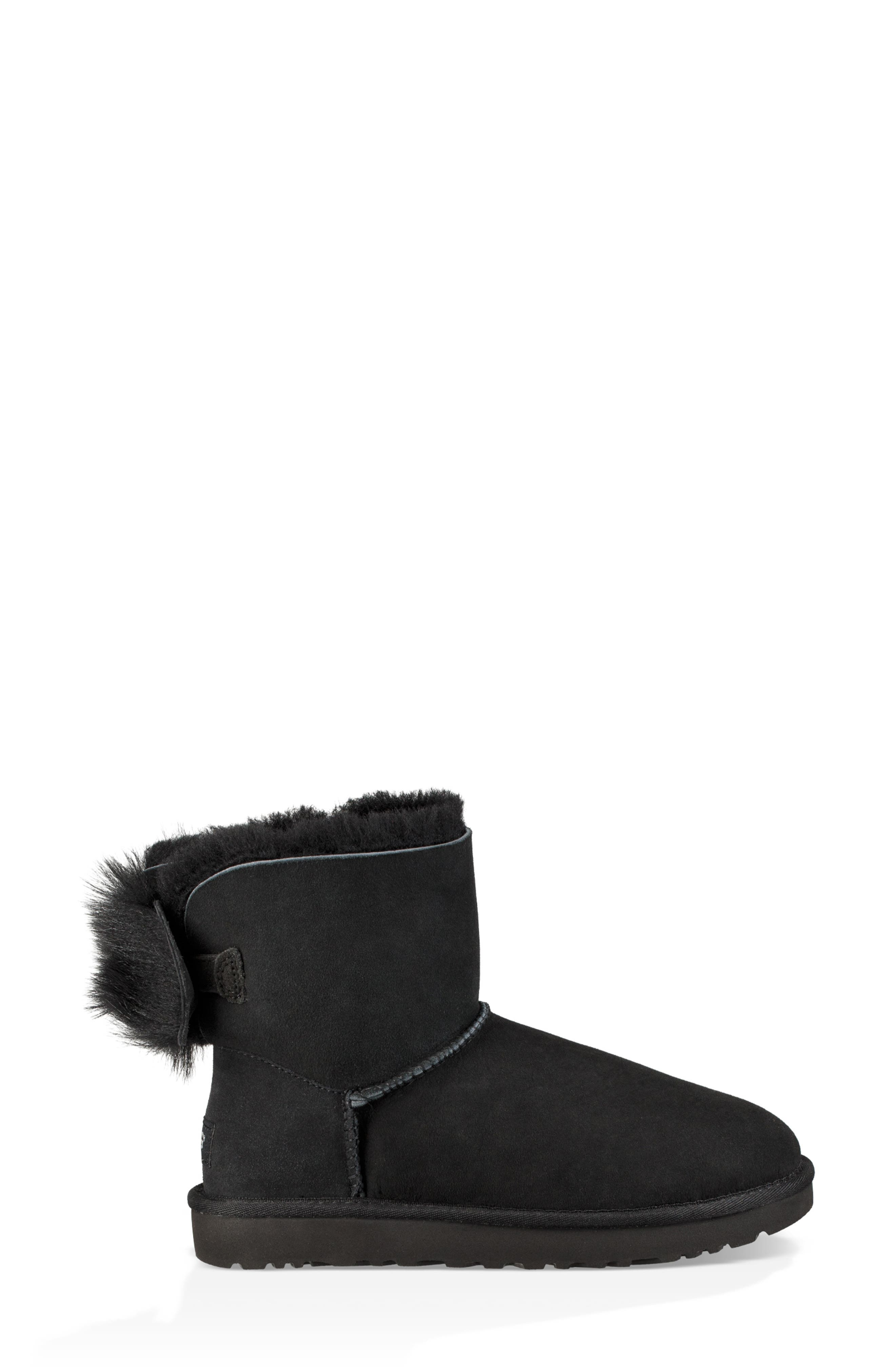 Mini Fluff Bow Genuine Shearling Boot,                             Alternate thumbnail 3, color,                             BLACK SUEDE