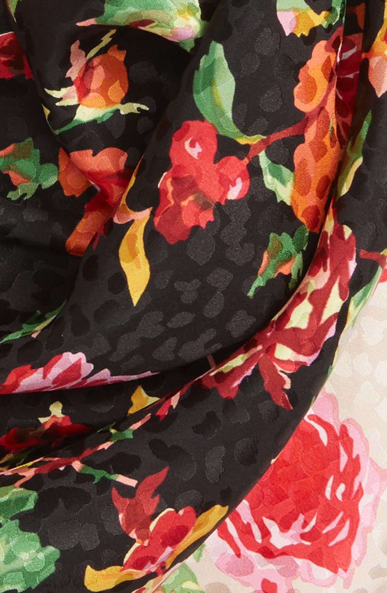 Rose Bud Silk Foulard Scarf,                             Alternate thumbnail 3, color,                             001