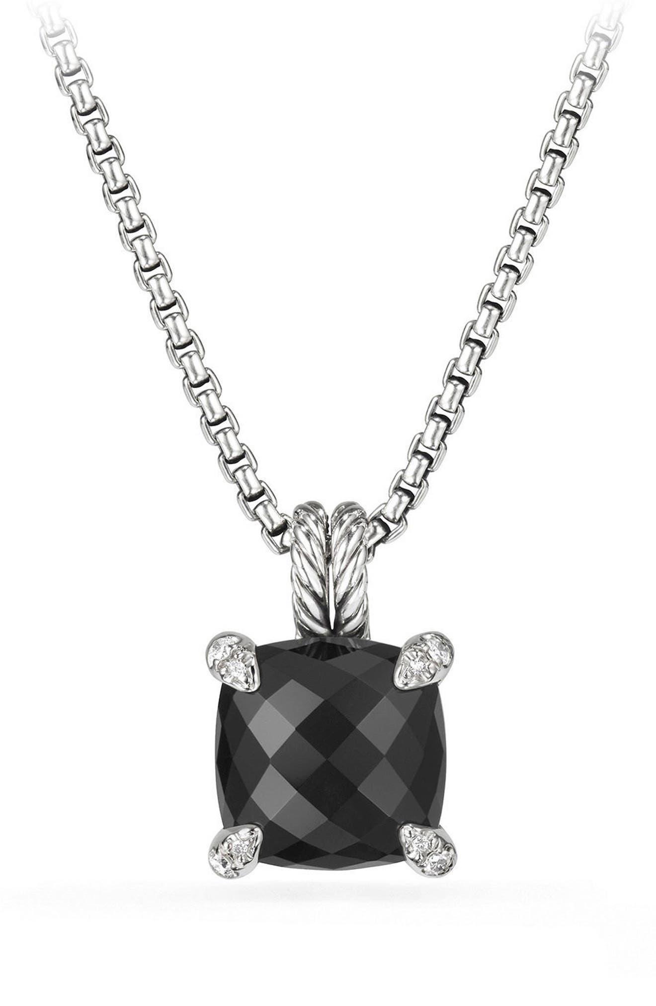 Châtelaine Pendant Necklace with Black Onyx and Diamonds,                             Main thumbnail 1, color,                             BLACK ONYX