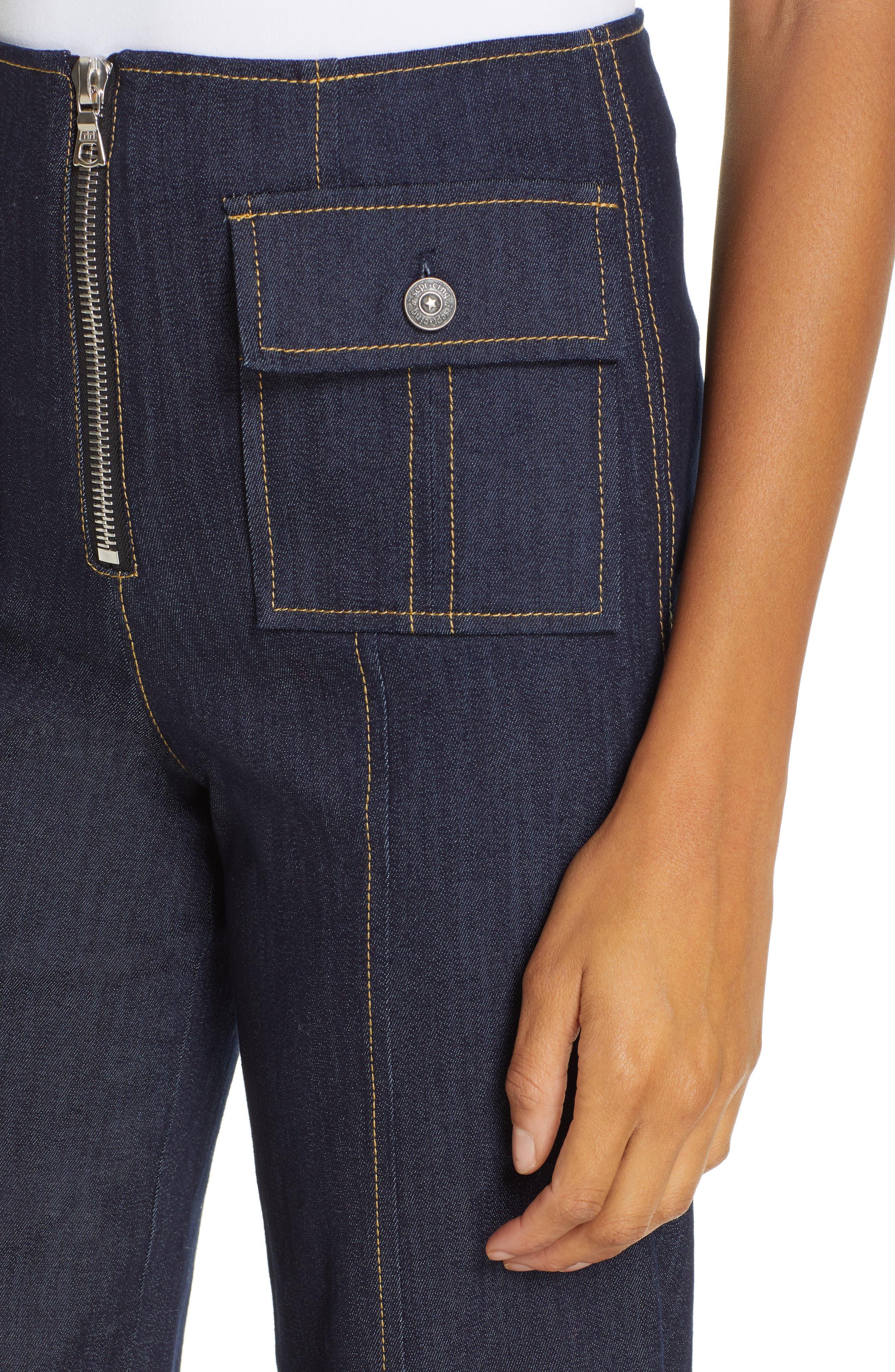 Azure Crop Wide Leg Jeans,                             Alternate thumbnail 4, color,                             INDIGO