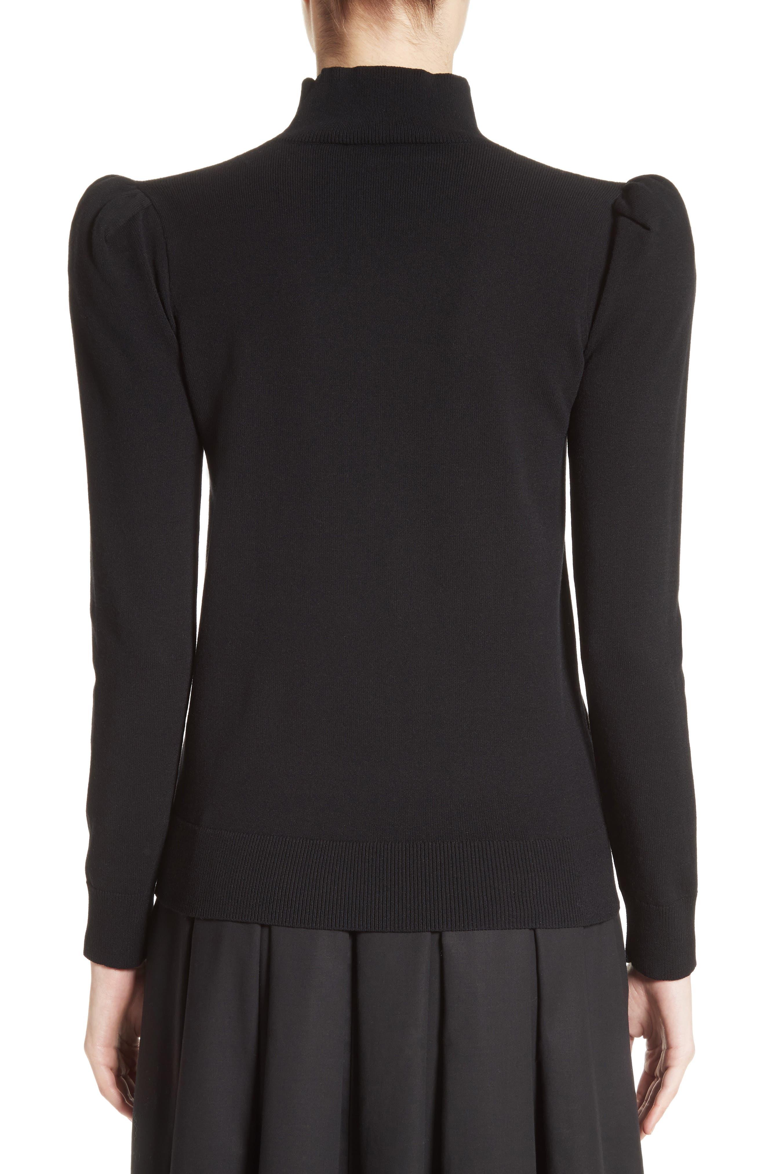 Cashmere Puff Shoulder Turtleneck Sweater,                             Alternate thumbnail 2, color,                             001