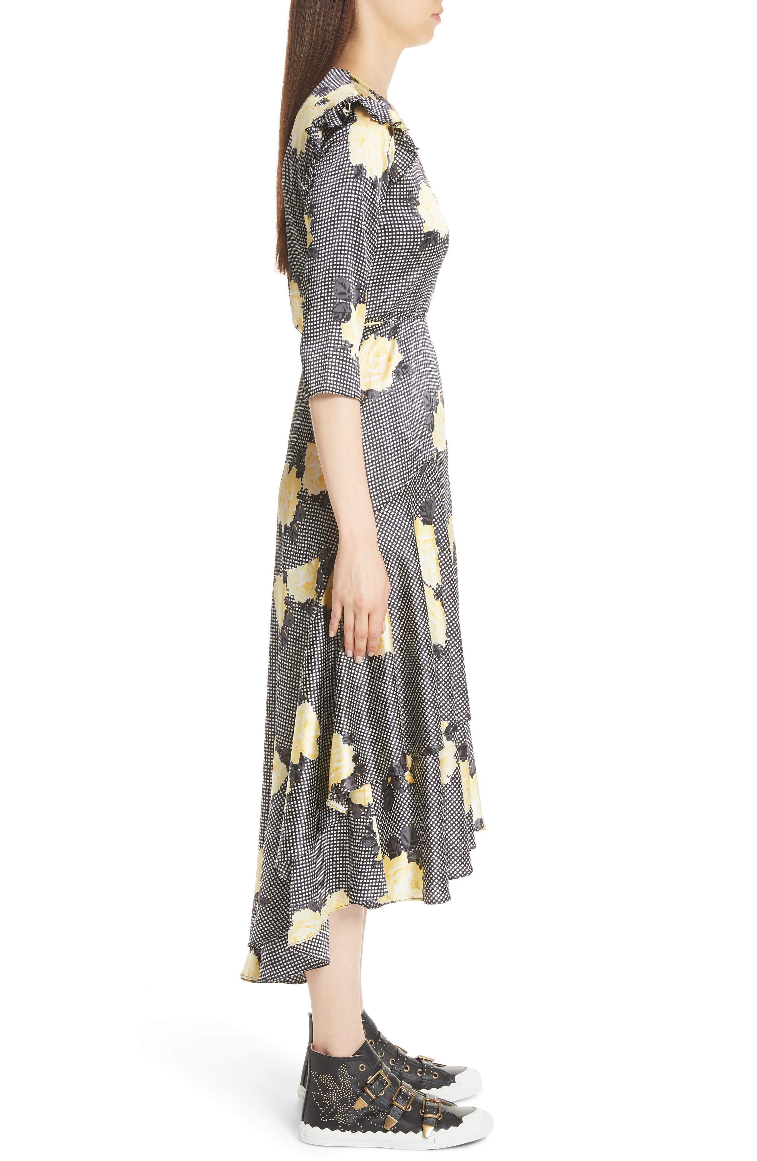 Calla Floral Silk Wrap Dress,                             Alternate thumbnail 3, color,                             BLACK