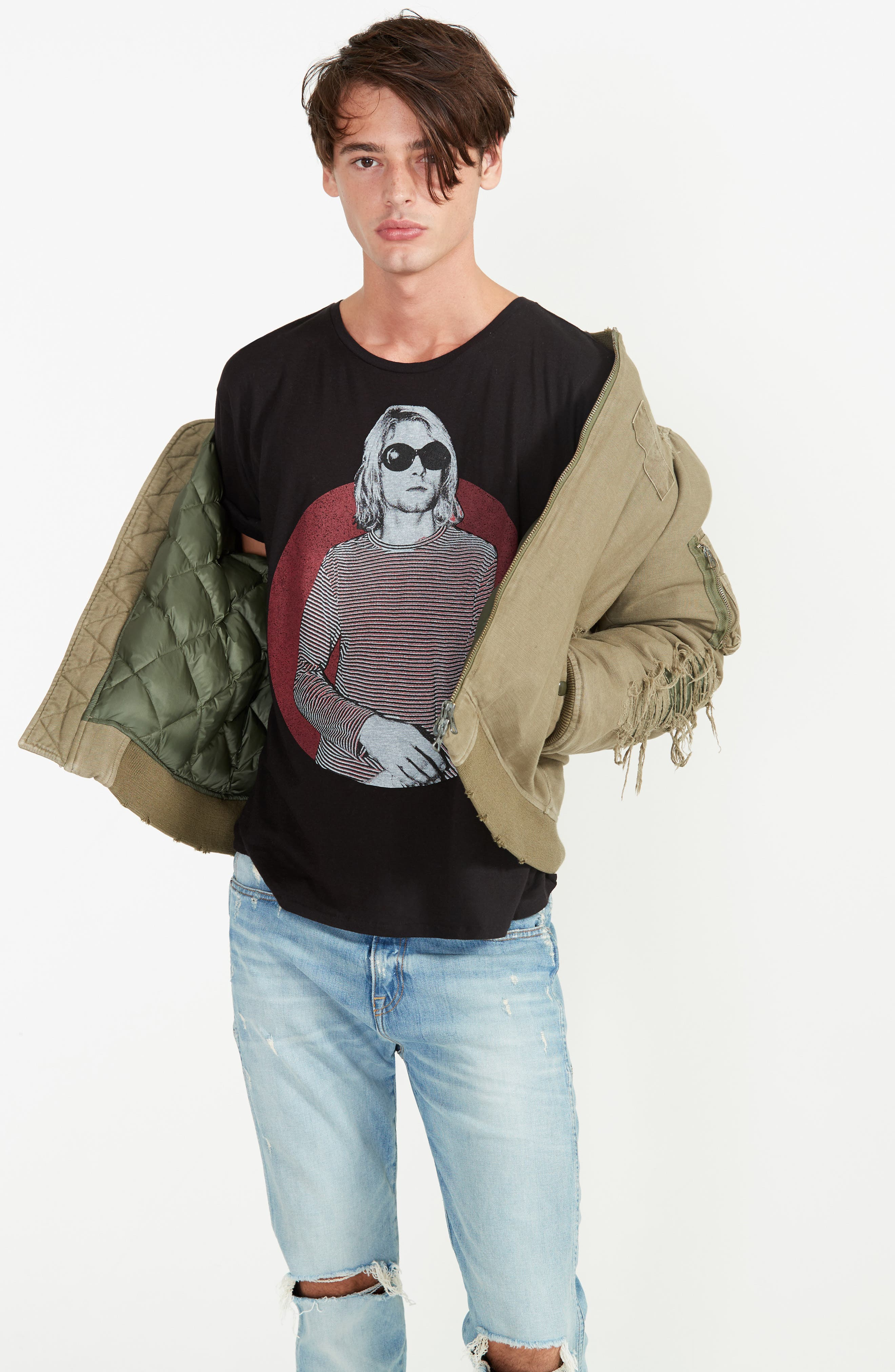 Ripped Canvas Bomber,                             Alternate thumbnail 7, color,                             301