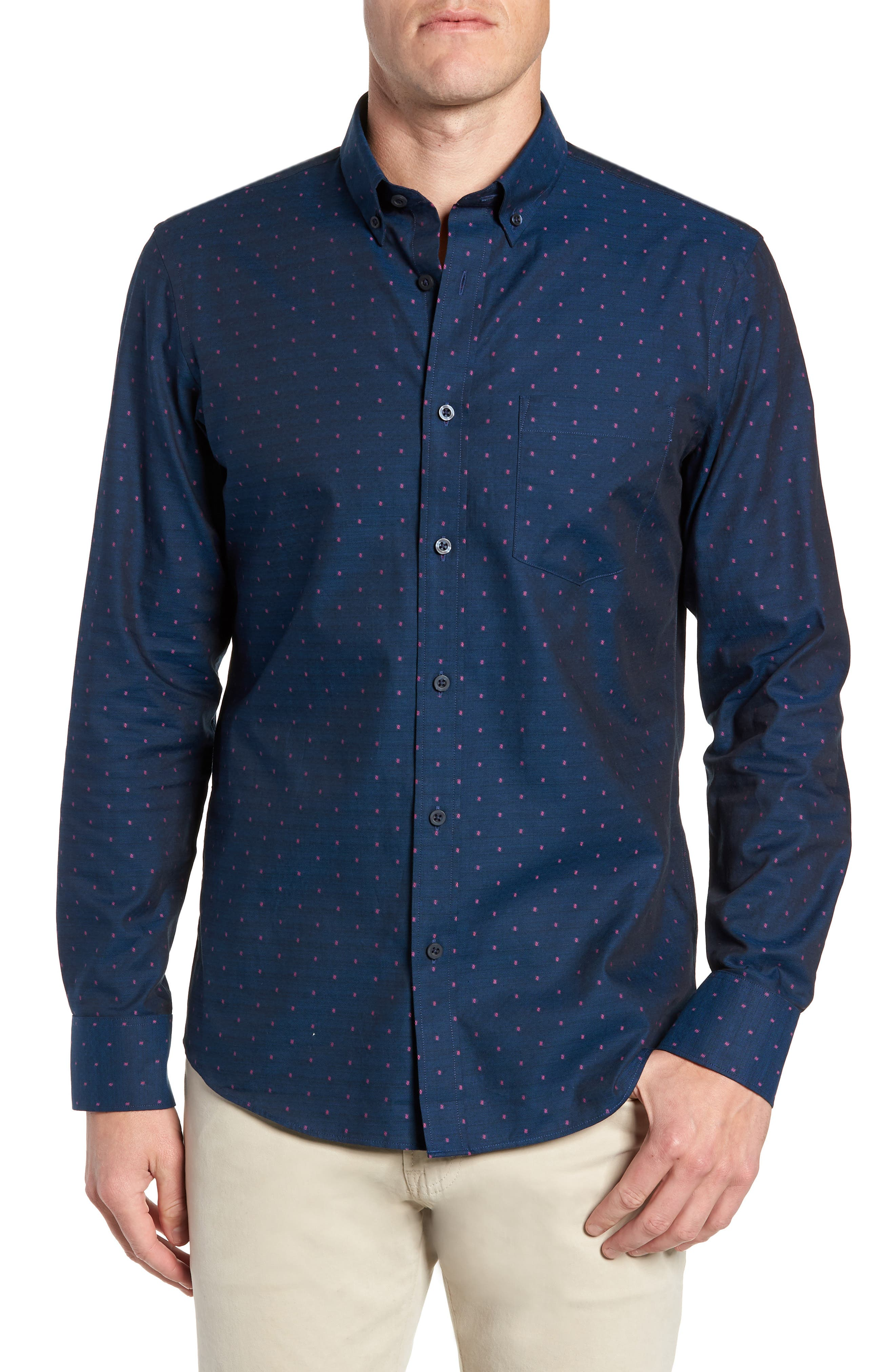 Nordstrom Shop Traditional Fit Dobby Sport Shirt, Blue