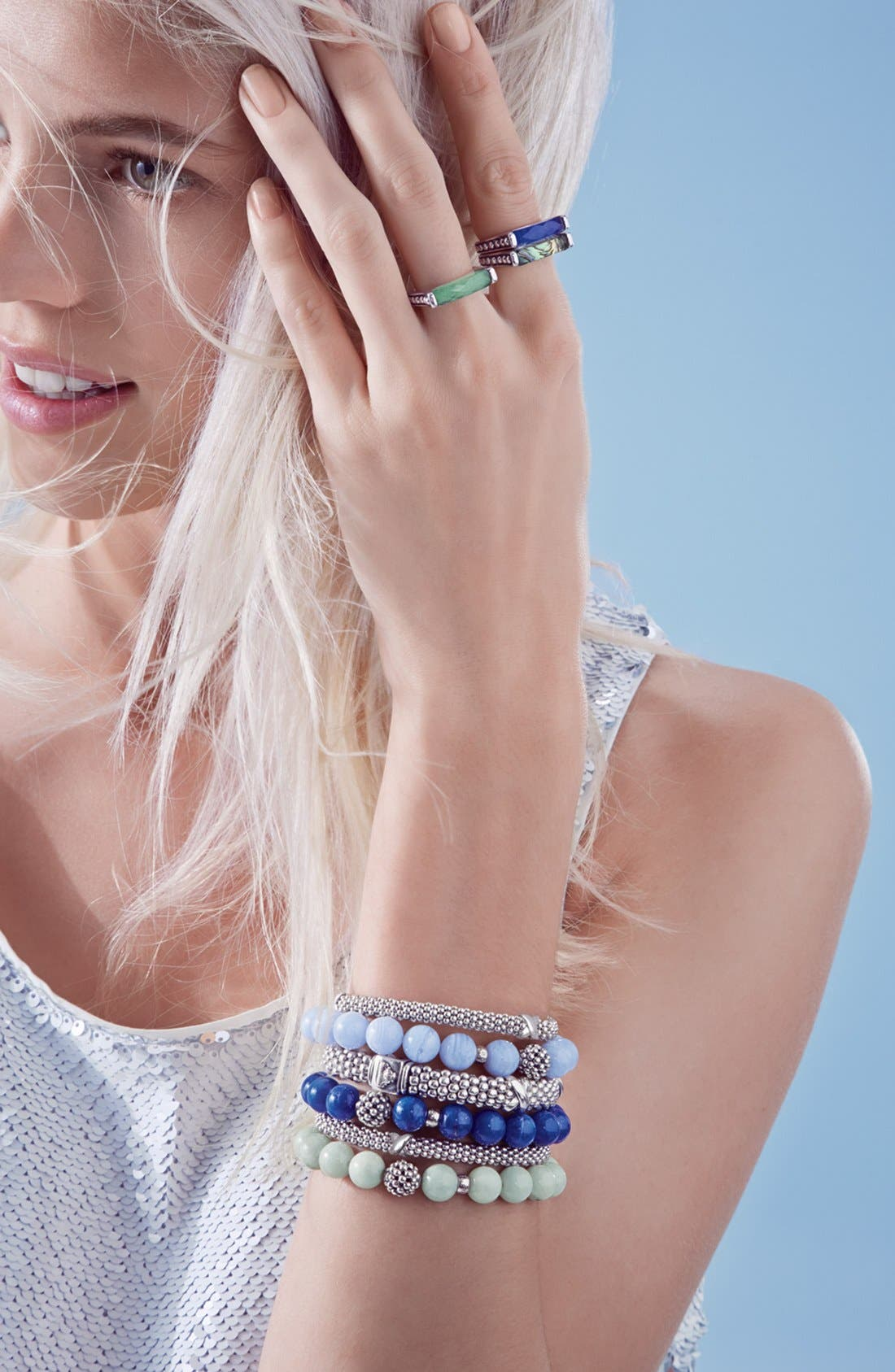 'Signature Caviar' Oval Rope Bracelet,                             Alternate thumbnail 5, color,                             STERLING SILVER