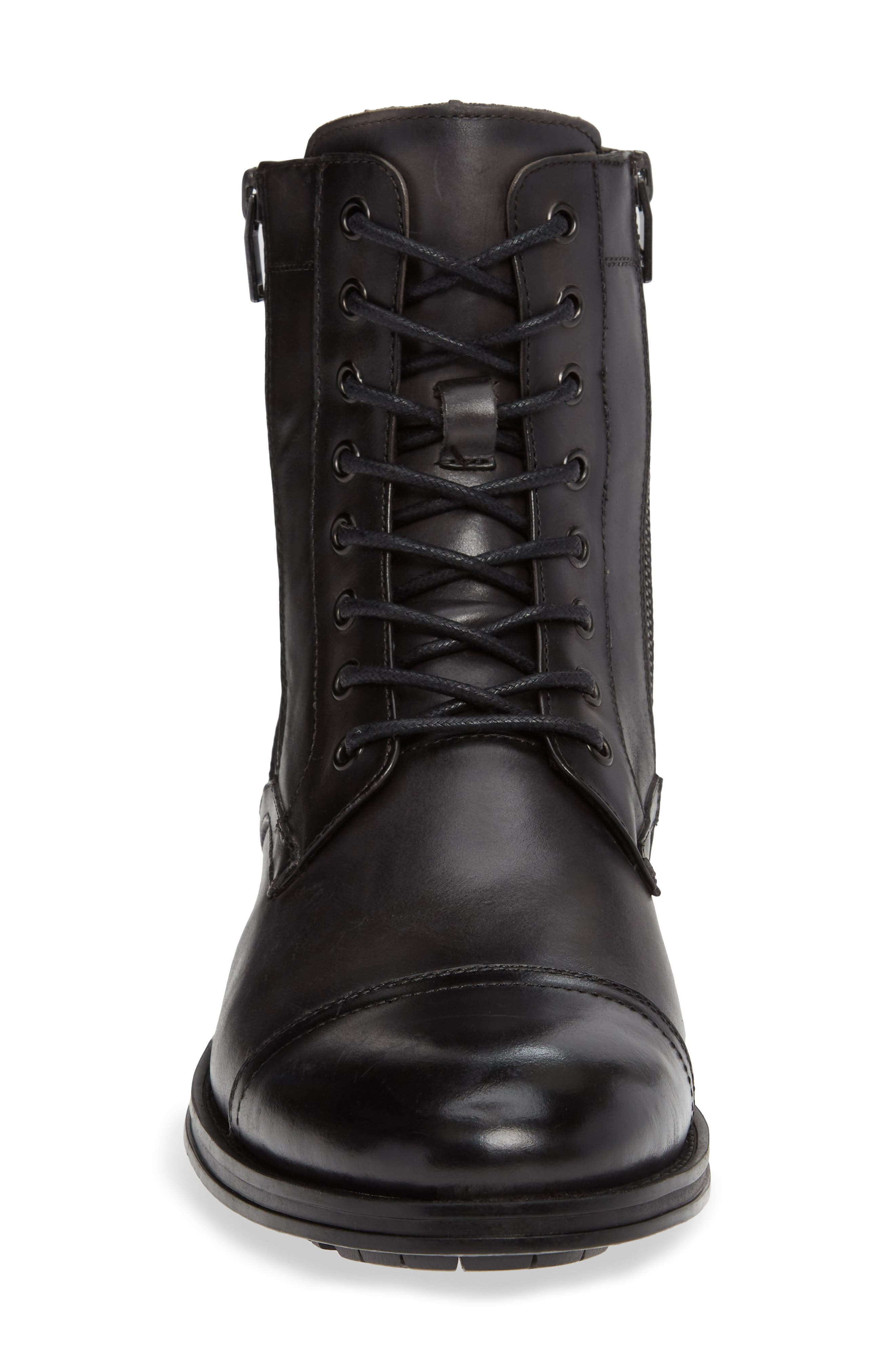 Hugh Cap Toe Boot,                             Alternate thumbnail 4, color,                             GREY LEATHER