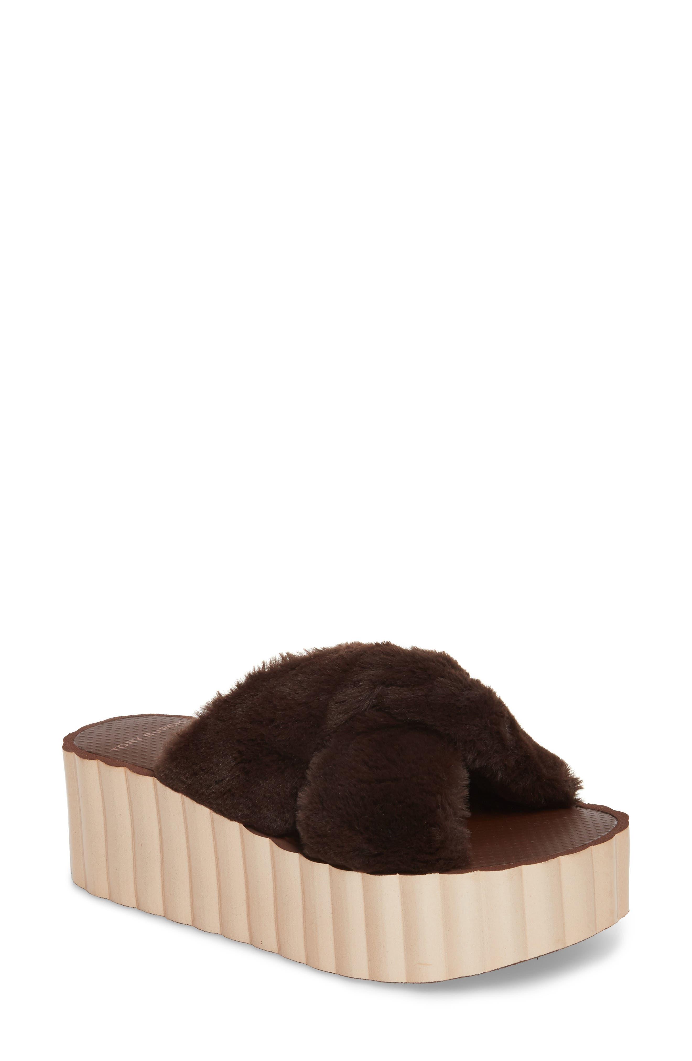 TORY BURCH,                             Faux Fur Scallop Platform Slide Sandal,                             Main thumbnail 1, color,                             207