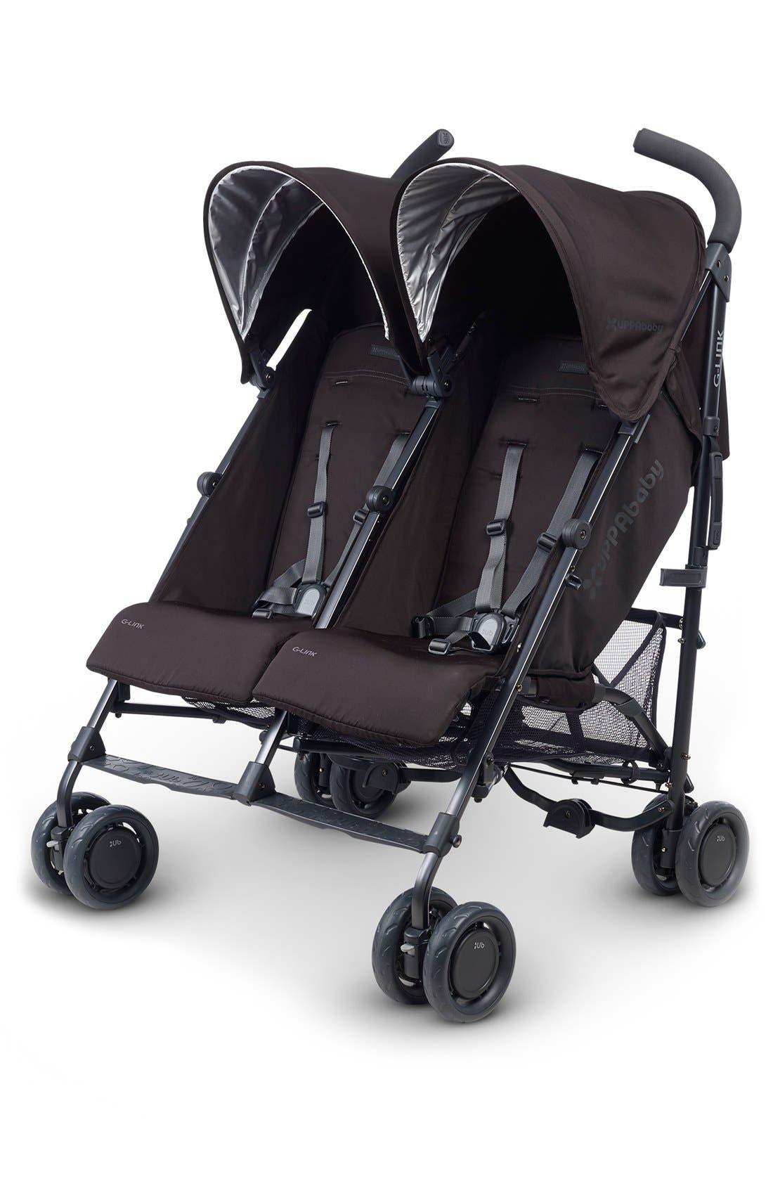 G-LINK Jake Aluminum Frame Reclining Side by Side Umbrella Stroller,                         Main,                         color, black