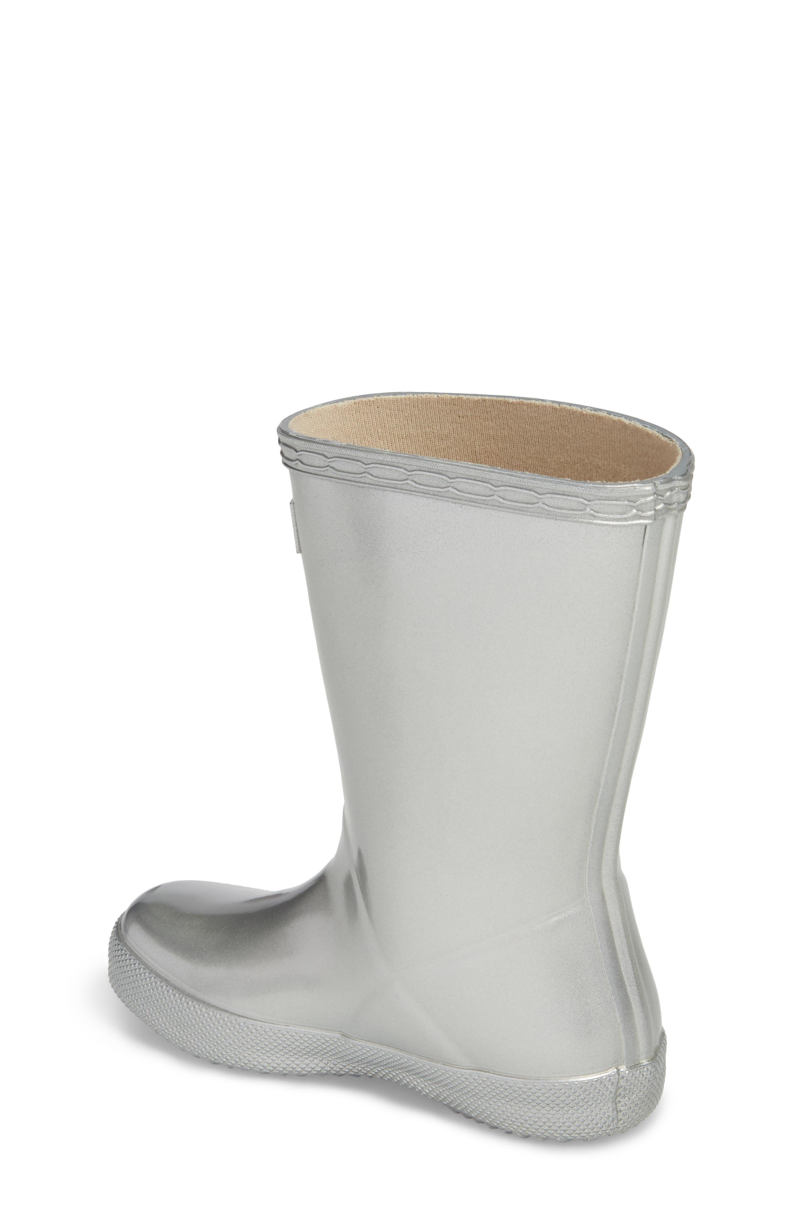 HUNTER,                             First Classic Metallic Waterproof Rain Boot,                             Alternate thumbnail 2, color,                             SILVER