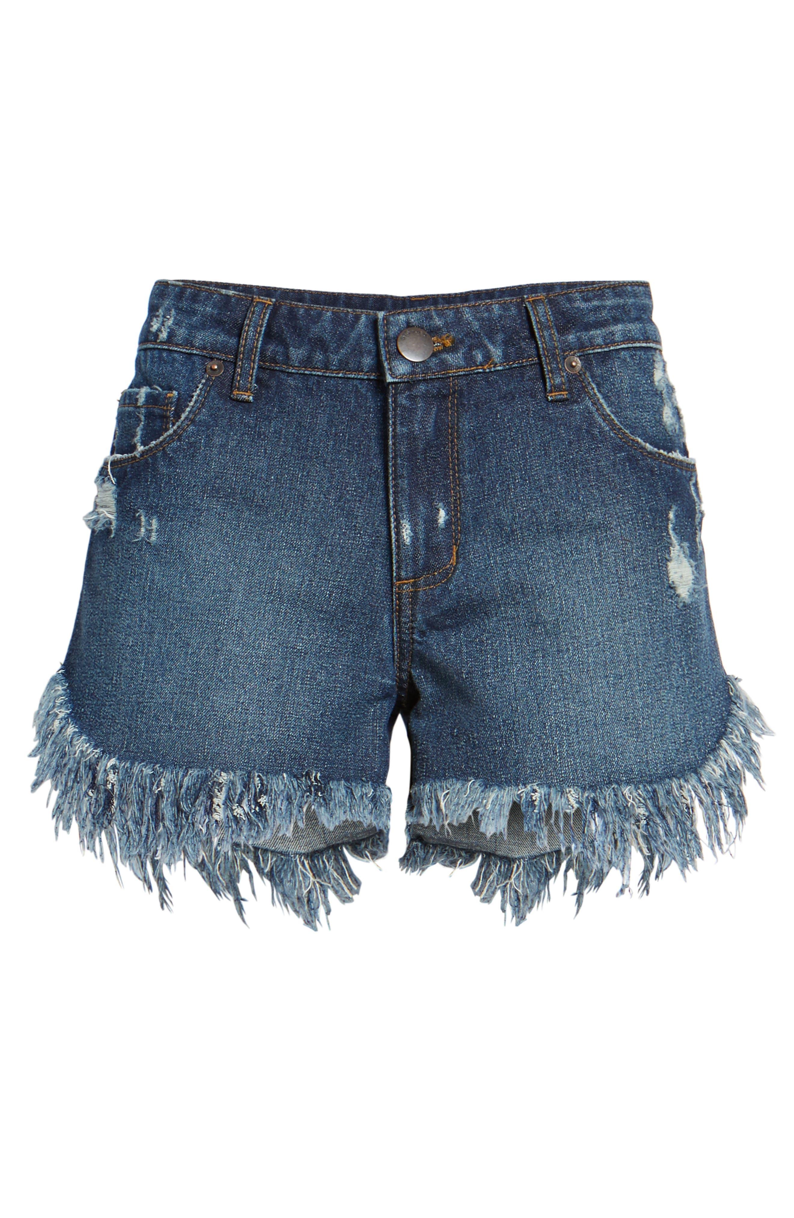 Extreme Fray Hem Jean Shorts,                             Alternate thumbnail 6, color,