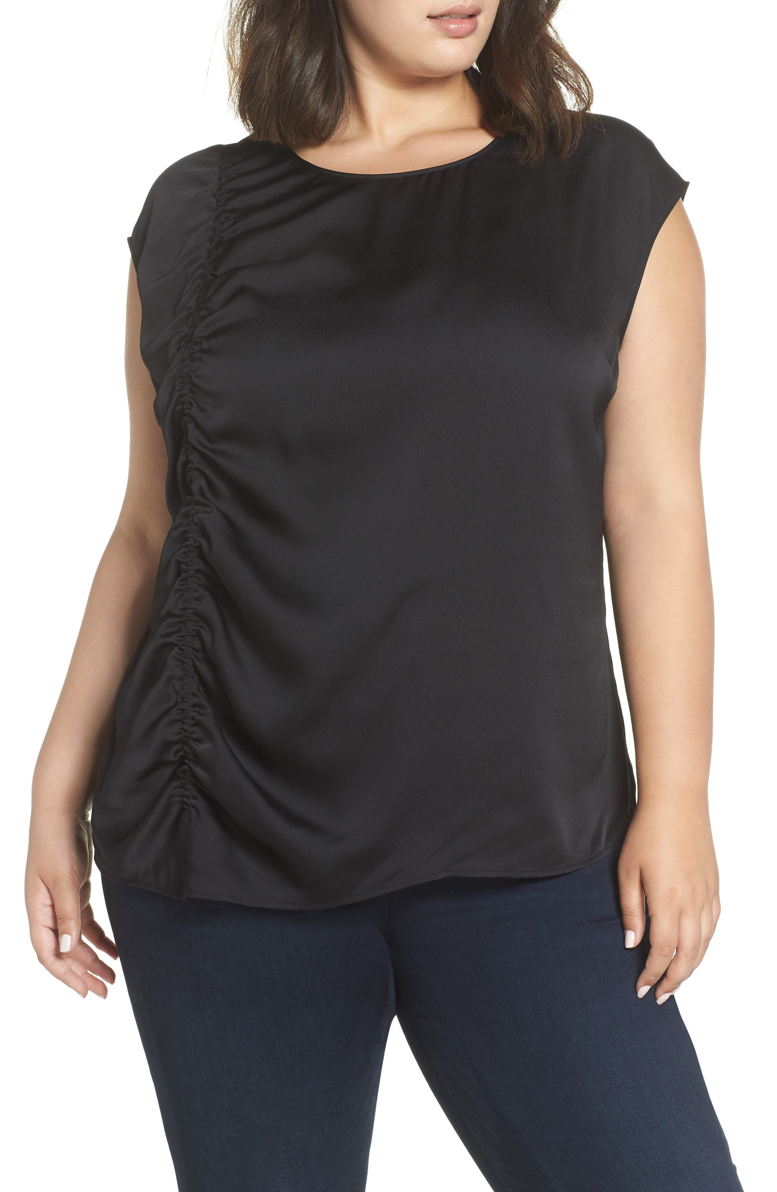 Gathered Front Shell,                         Main,                         color, BLACK