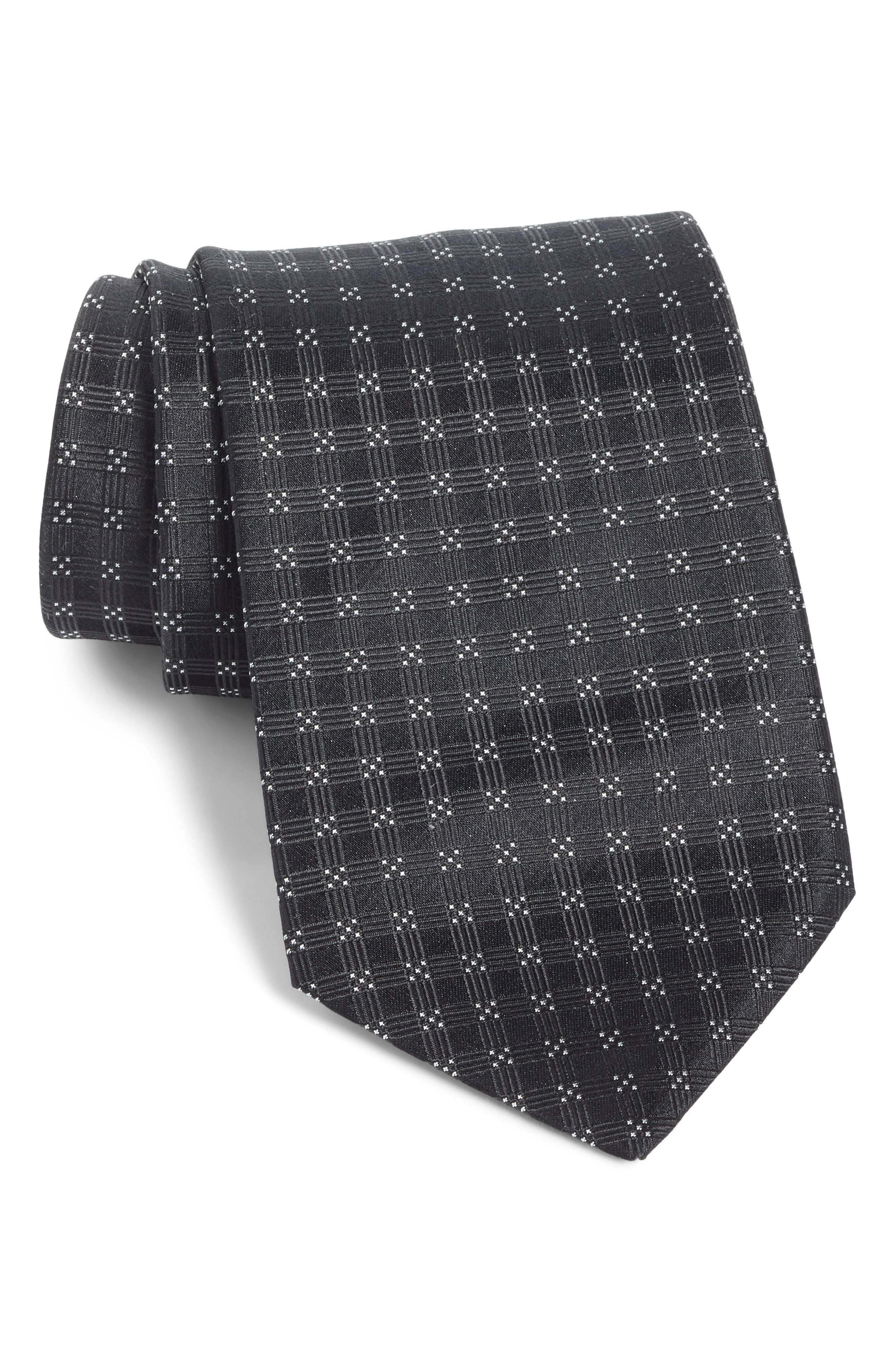 Grid Silk Tie,                         Main,                         color, BLACK
