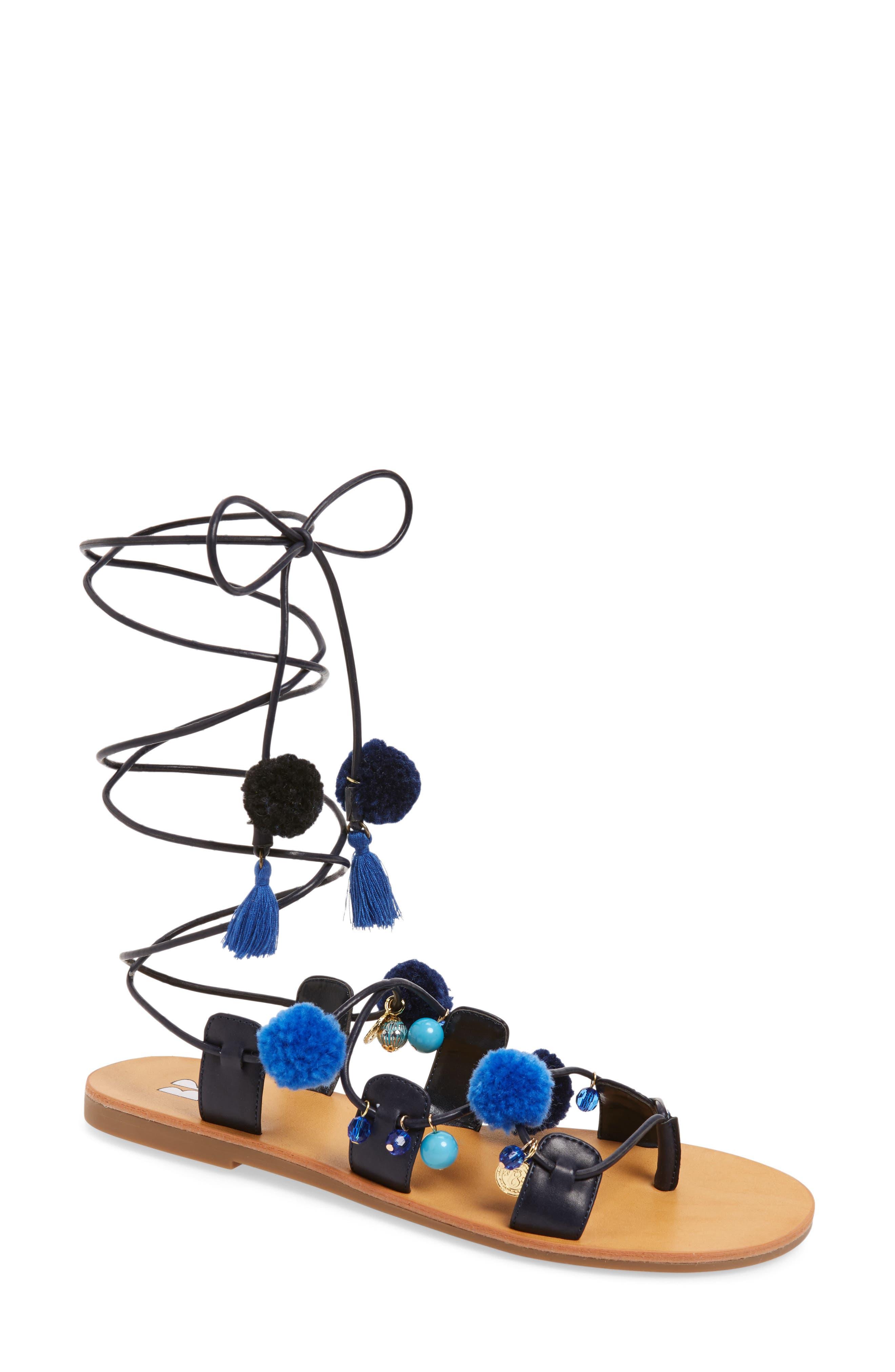 Laney Pompom Lace-Up Sandal,                         Main,                         color, 435
