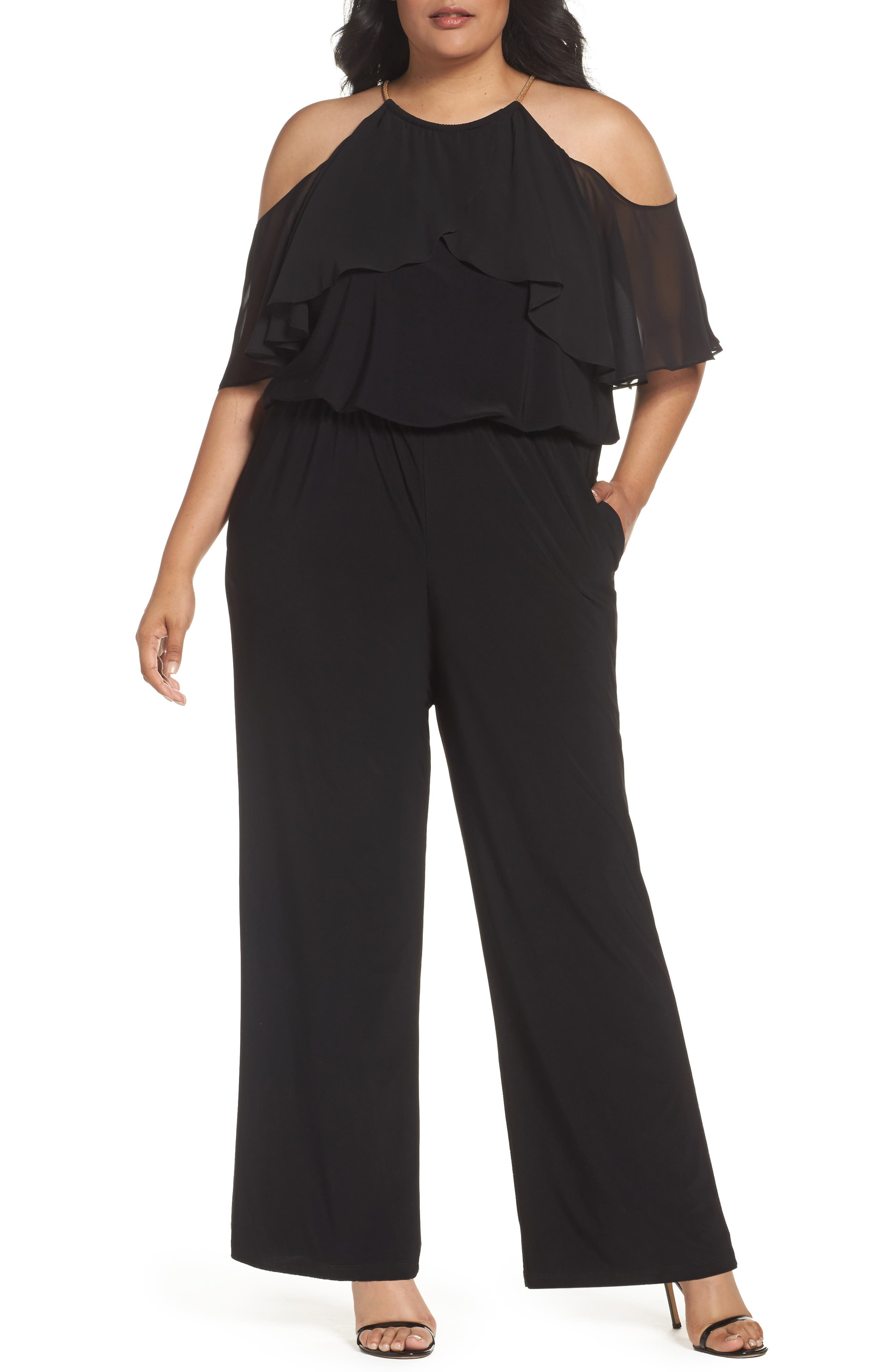 Chain Neck Cold Shoulder Jumpsuit,                         Main,                         color, BLACK