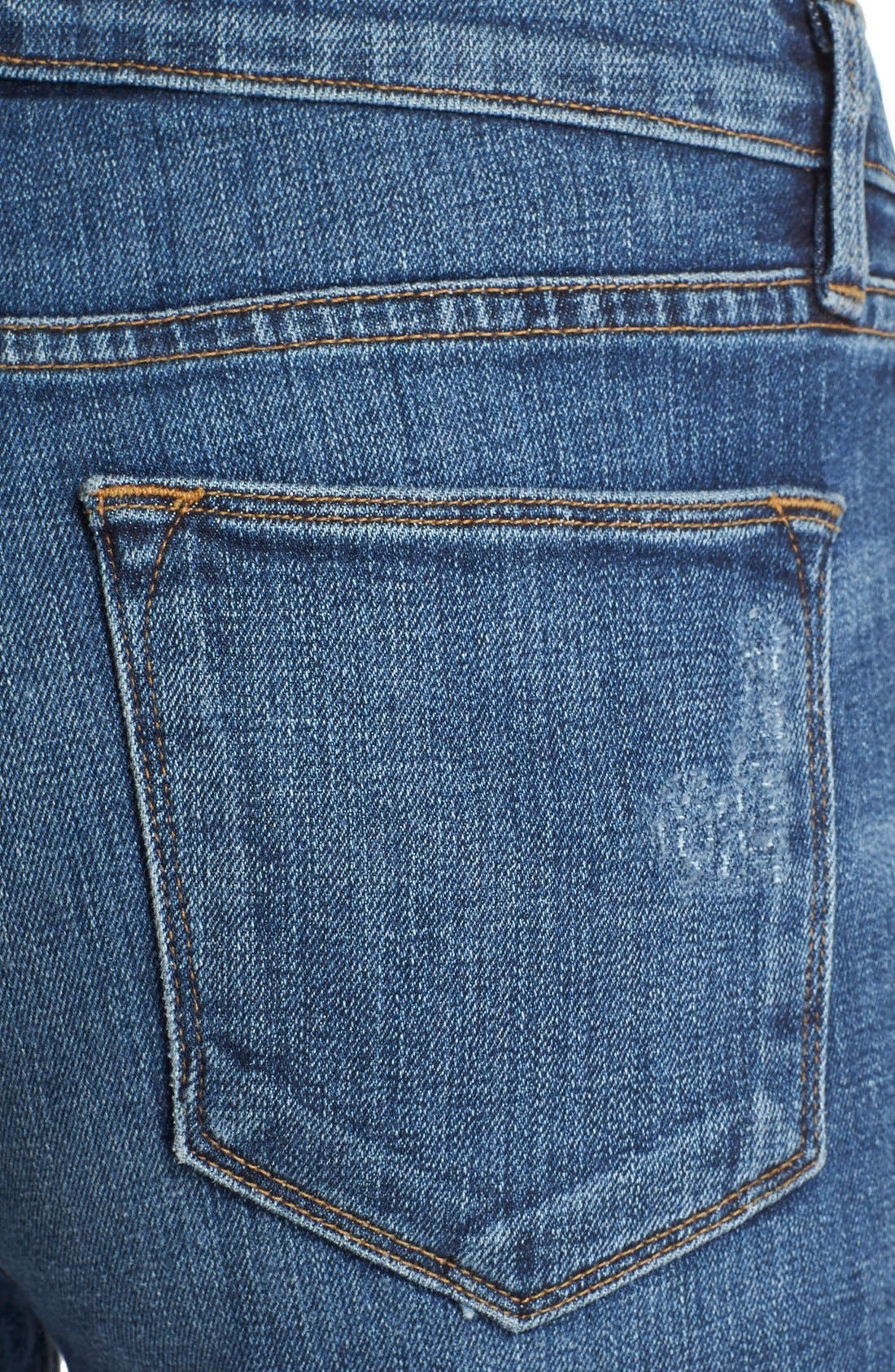 'Le High Straight' High Rise Staggered Hem Jeans,                             Alternate thumbnail 5, color,                             401