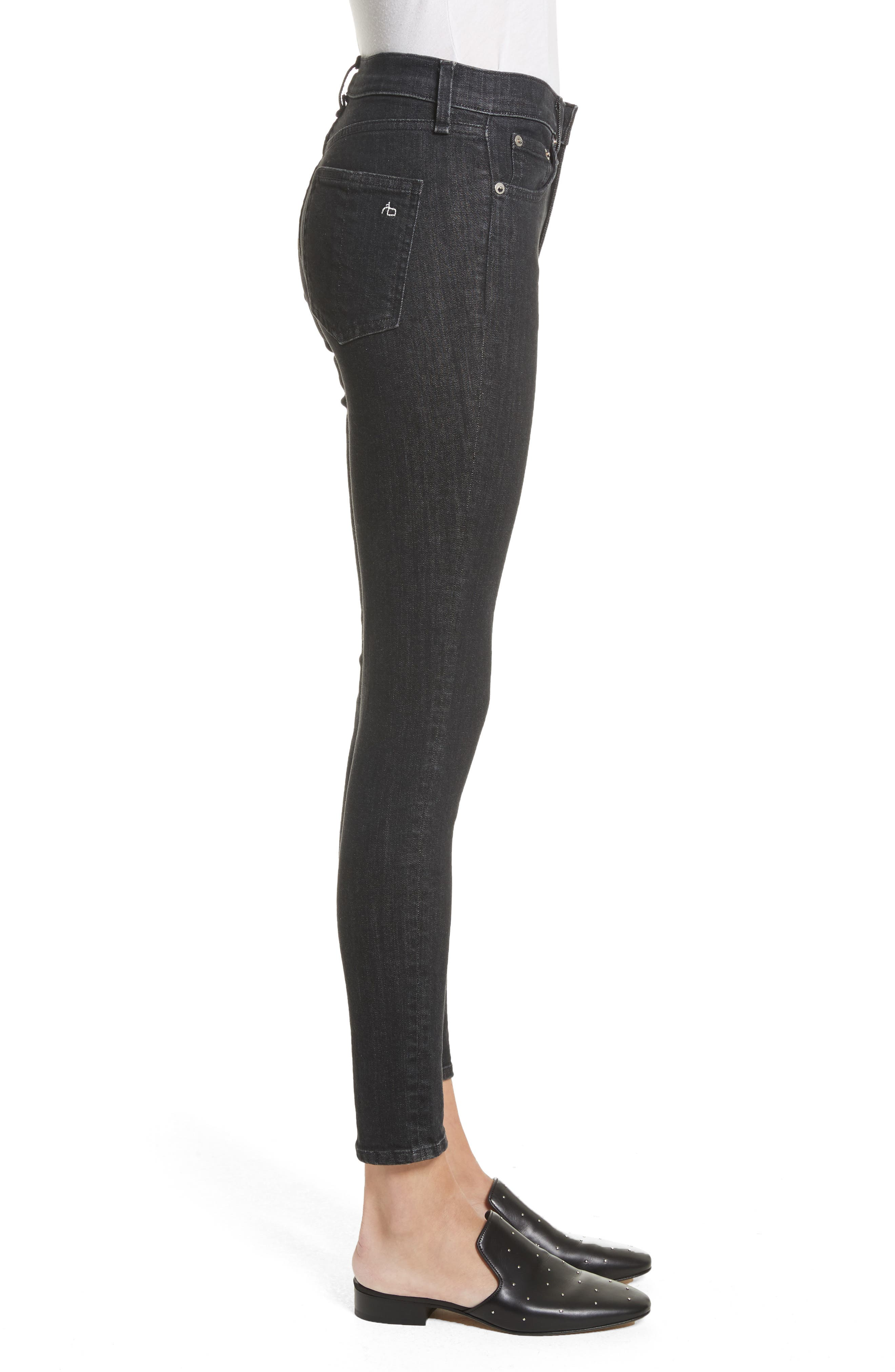 High Waist Ankle Skinny Jeans,                             Alternate thumbnail 3, color,                             002