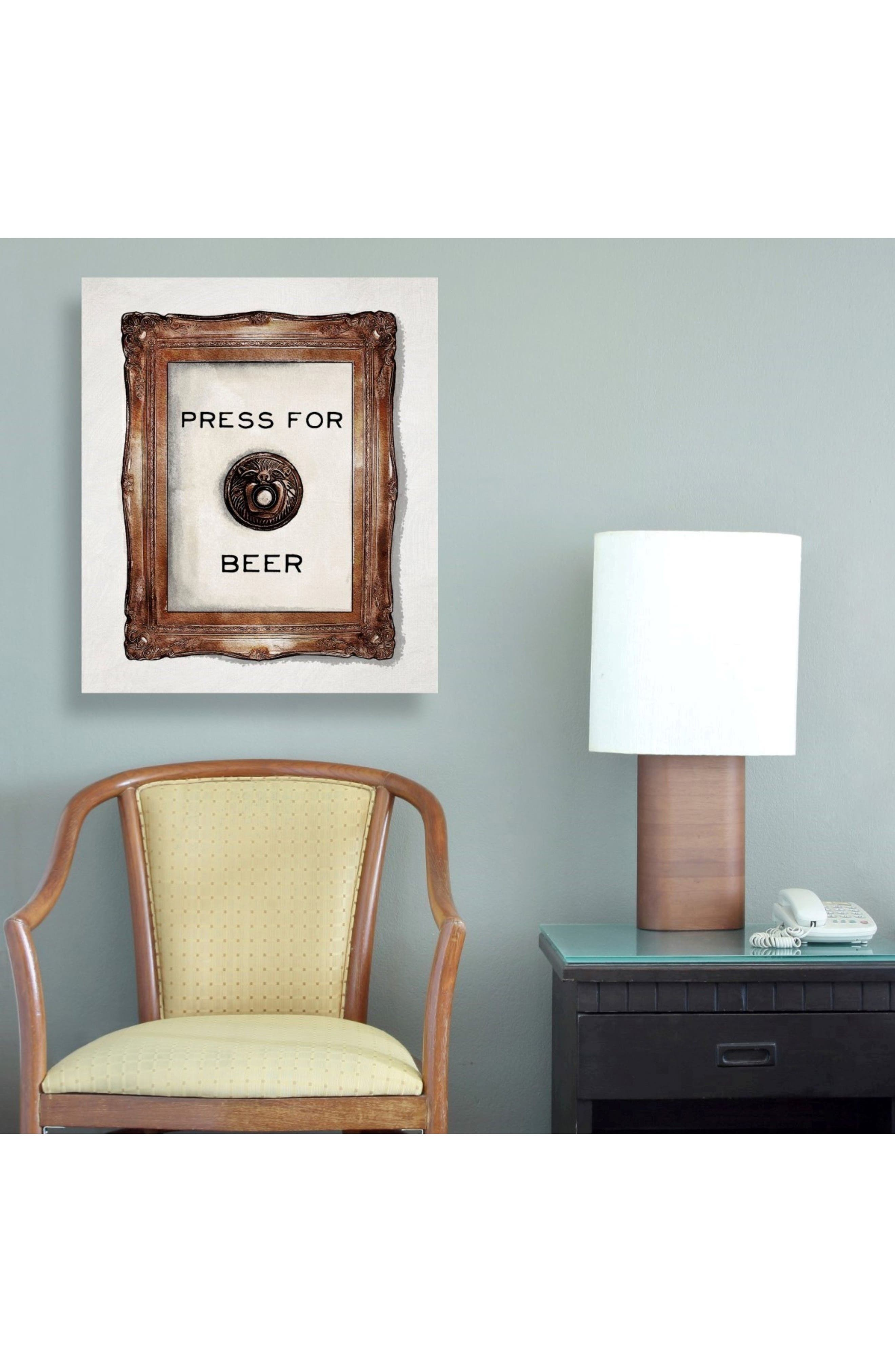 Press for Beer Canvas Wall Art,                             Alternate thumbnail 2, color,