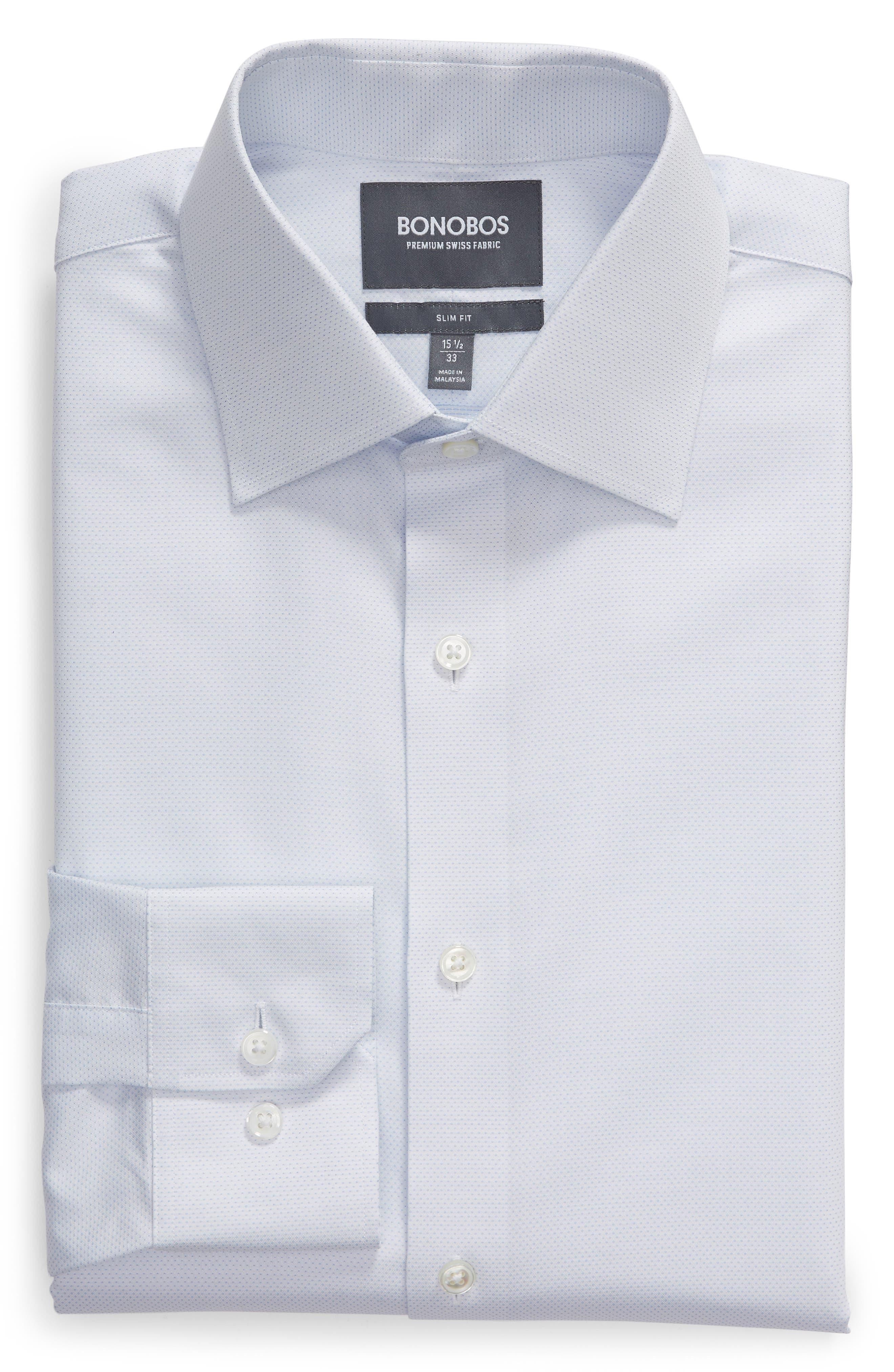 Swiss Performance Slim Fit Solid Dress Shirt,                             Alternate thumbnail 5, color,                             SOFT BLUE