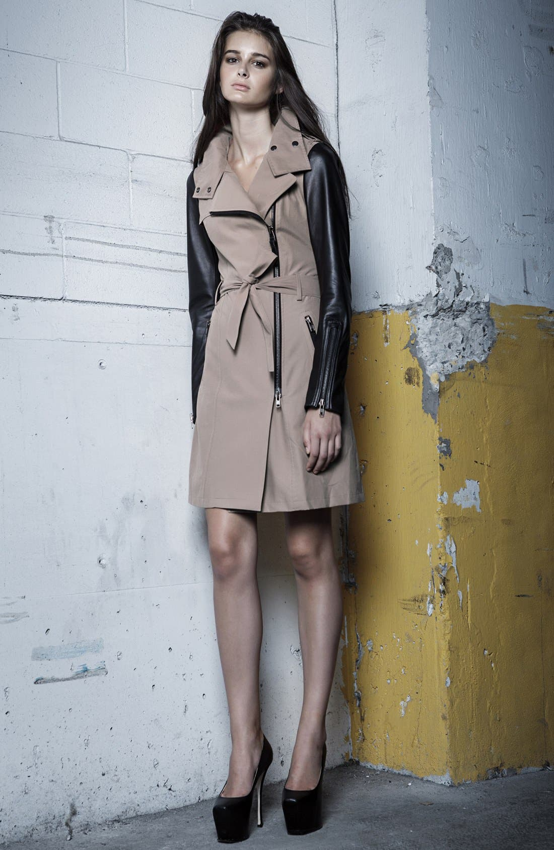 Leather Sleeve Trench Coat,                             Alternate thumbnail 3, color,                             200