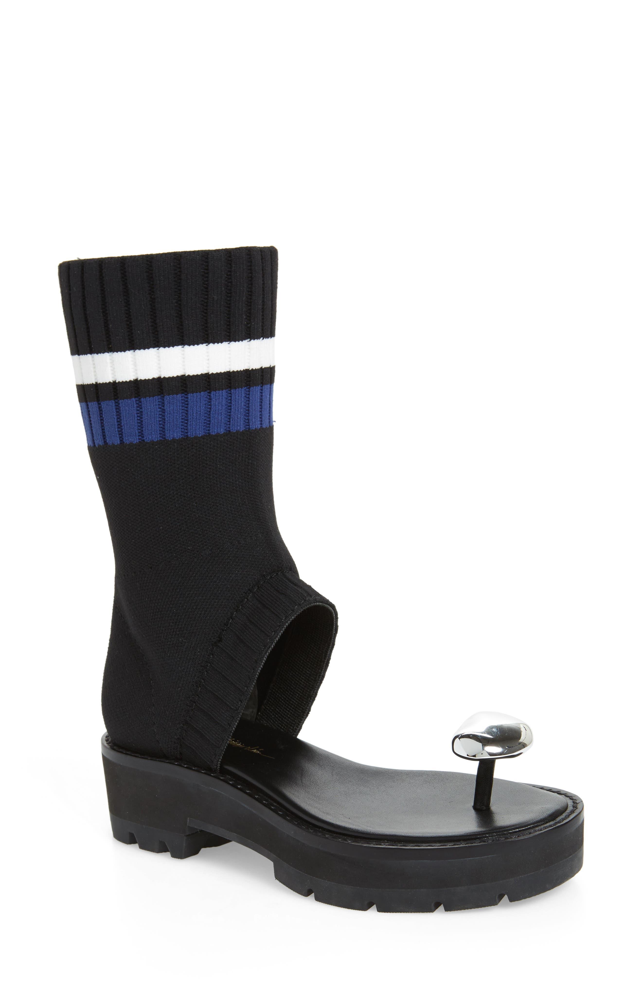Cat Sock Shaft Sandal,                             Main thumbnail 1, color,                             001