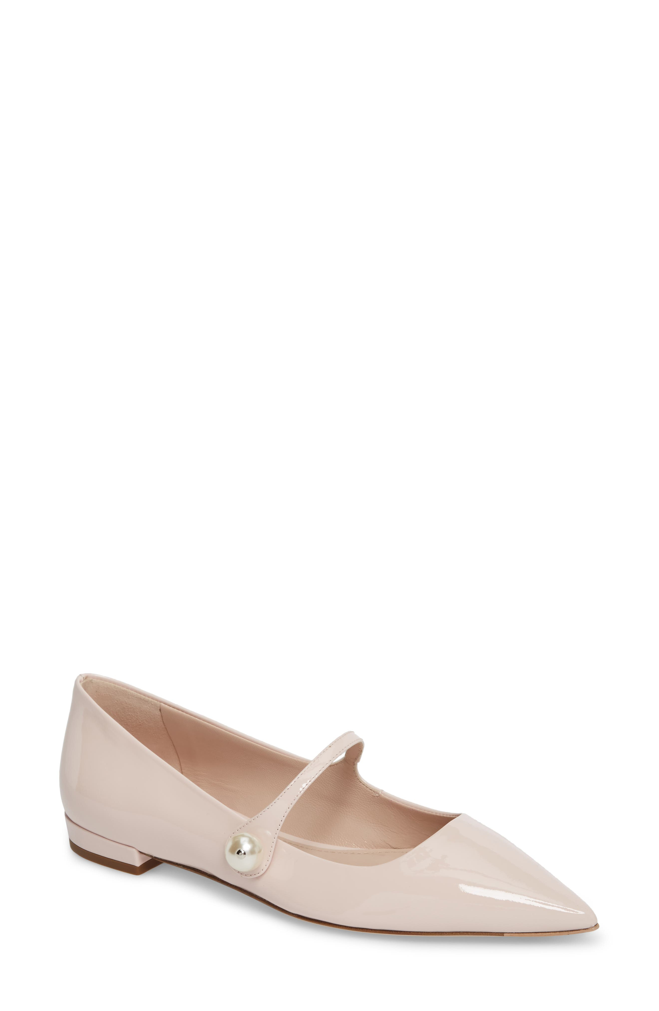 Pearl Mary Jane Flat,                         Main,                         color, LIGHT PINK